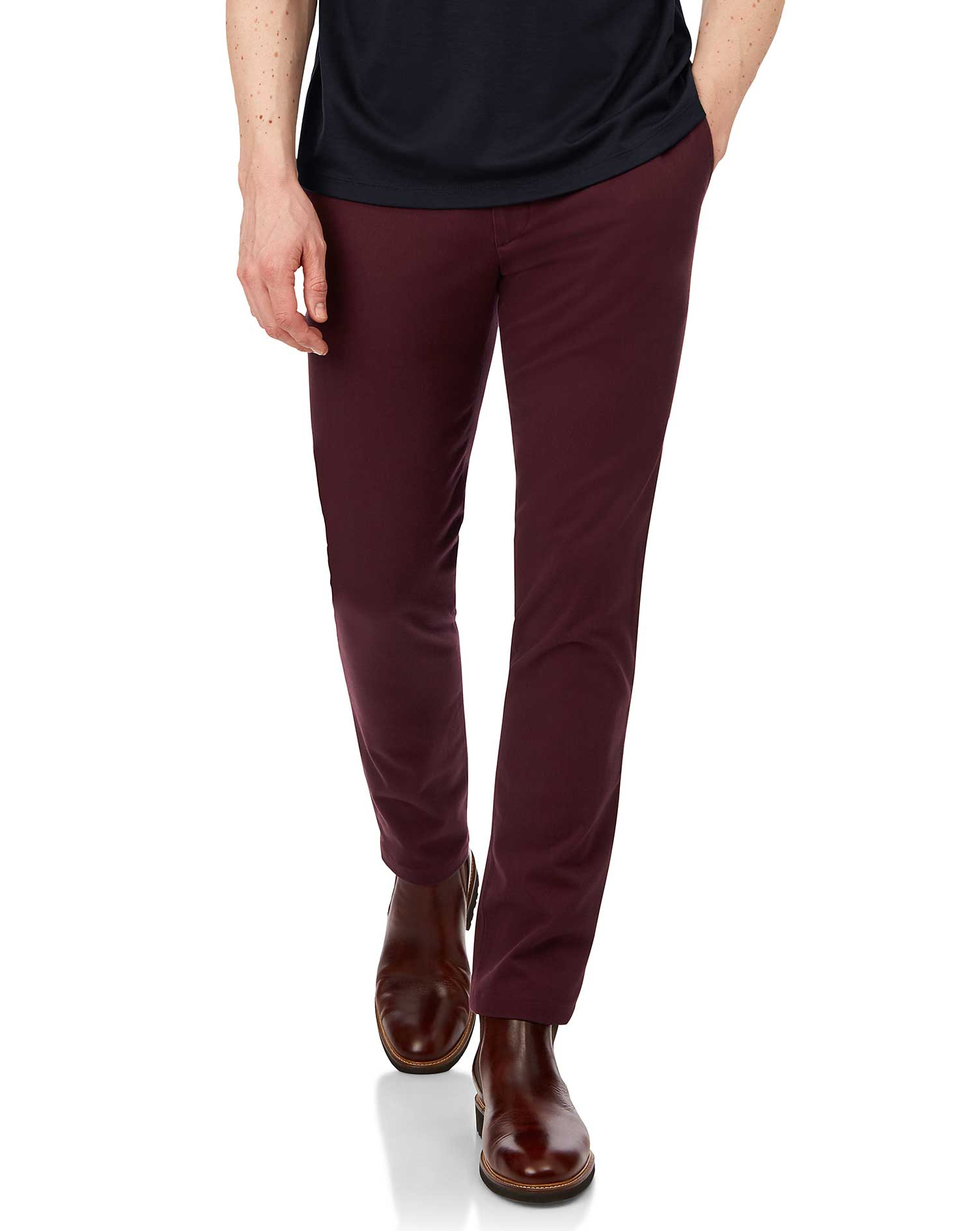 Berry Non-Iron Ultimate Cotton Chino Trousers Size W32 L34 by Charles Tyrwhitt