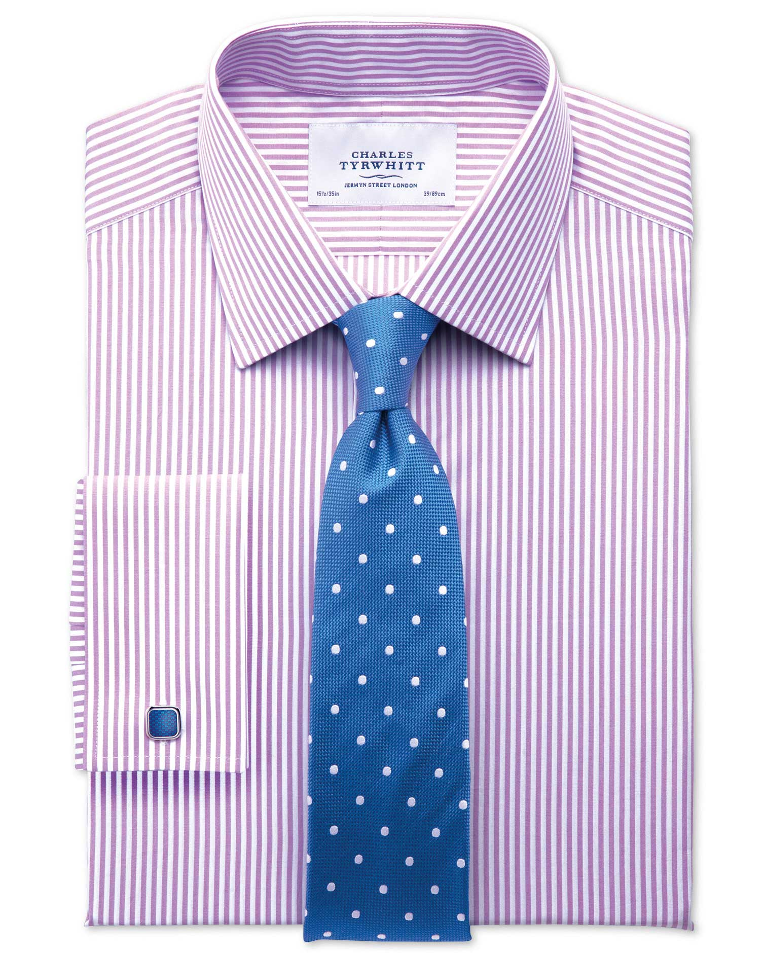 Classic Fit Bengal Stripe Lilac Cotton Formal Shirt Single Cuff Size 17.5/34 by Charles Tyrwhitt