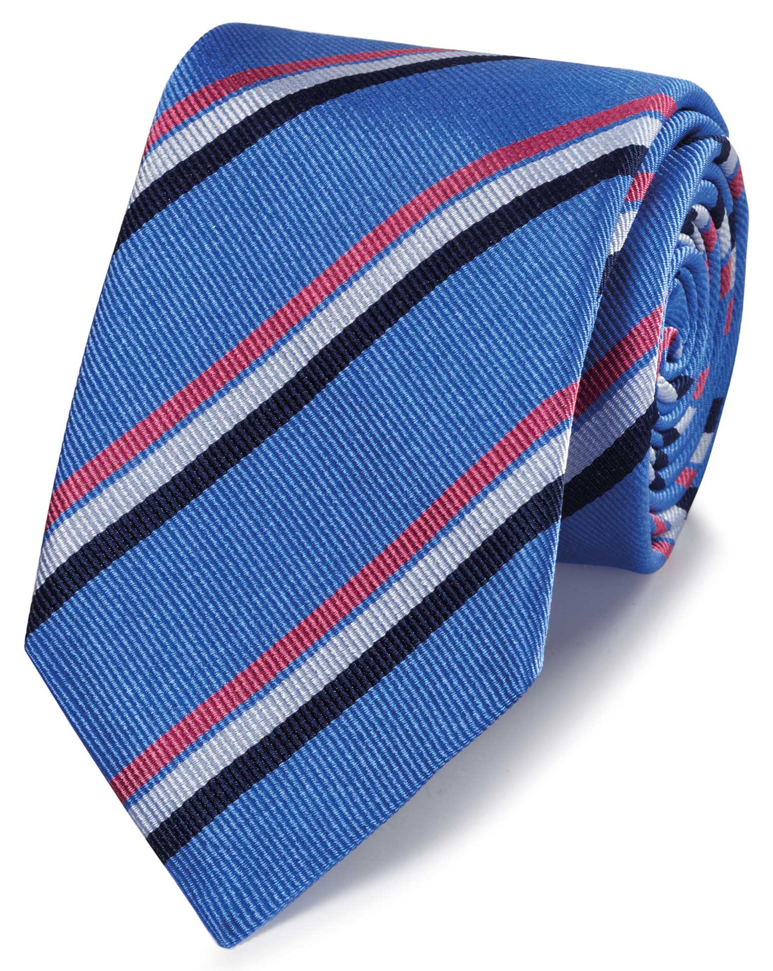 Sky Blue and Pink Reppe Stripe English Luxury Silk Tie Size OSFA by Charles Tyrwhitt