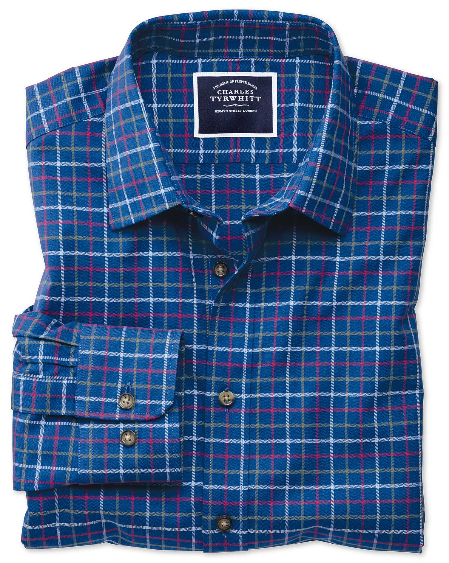 Classic Fit Blue Multi Brushed Check Cotton Shirt Single Cuff Size Small by Charles Tyrwhitt