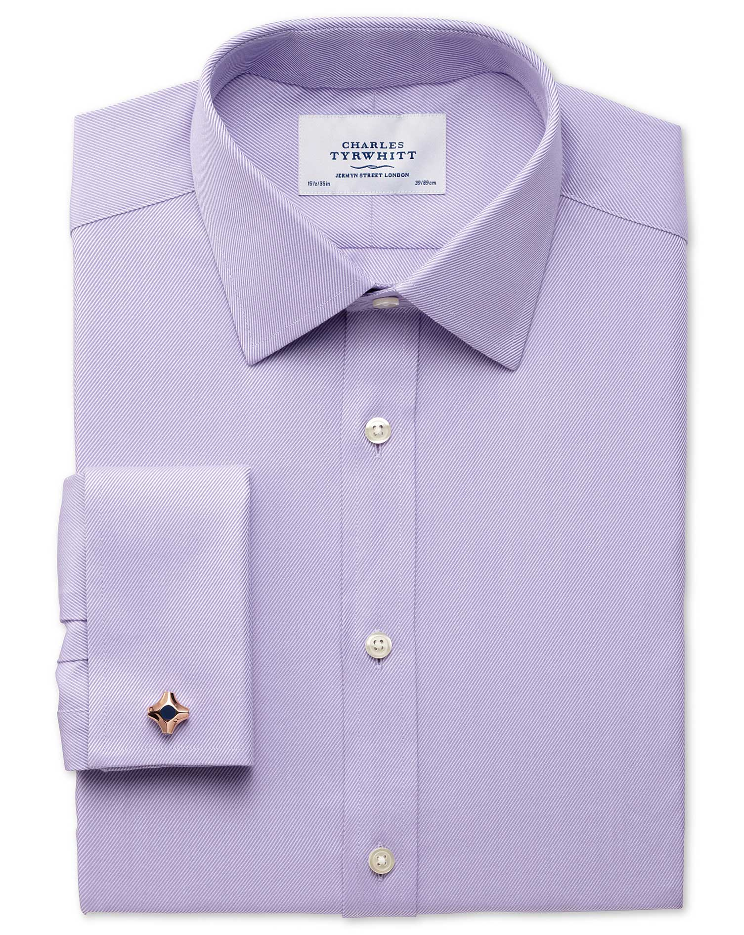 Classic Fit Egyptian Cotton Cavalry Twill Lilac Formal Shirt Double Cuff Size 16.5/36 by Charles Tyr