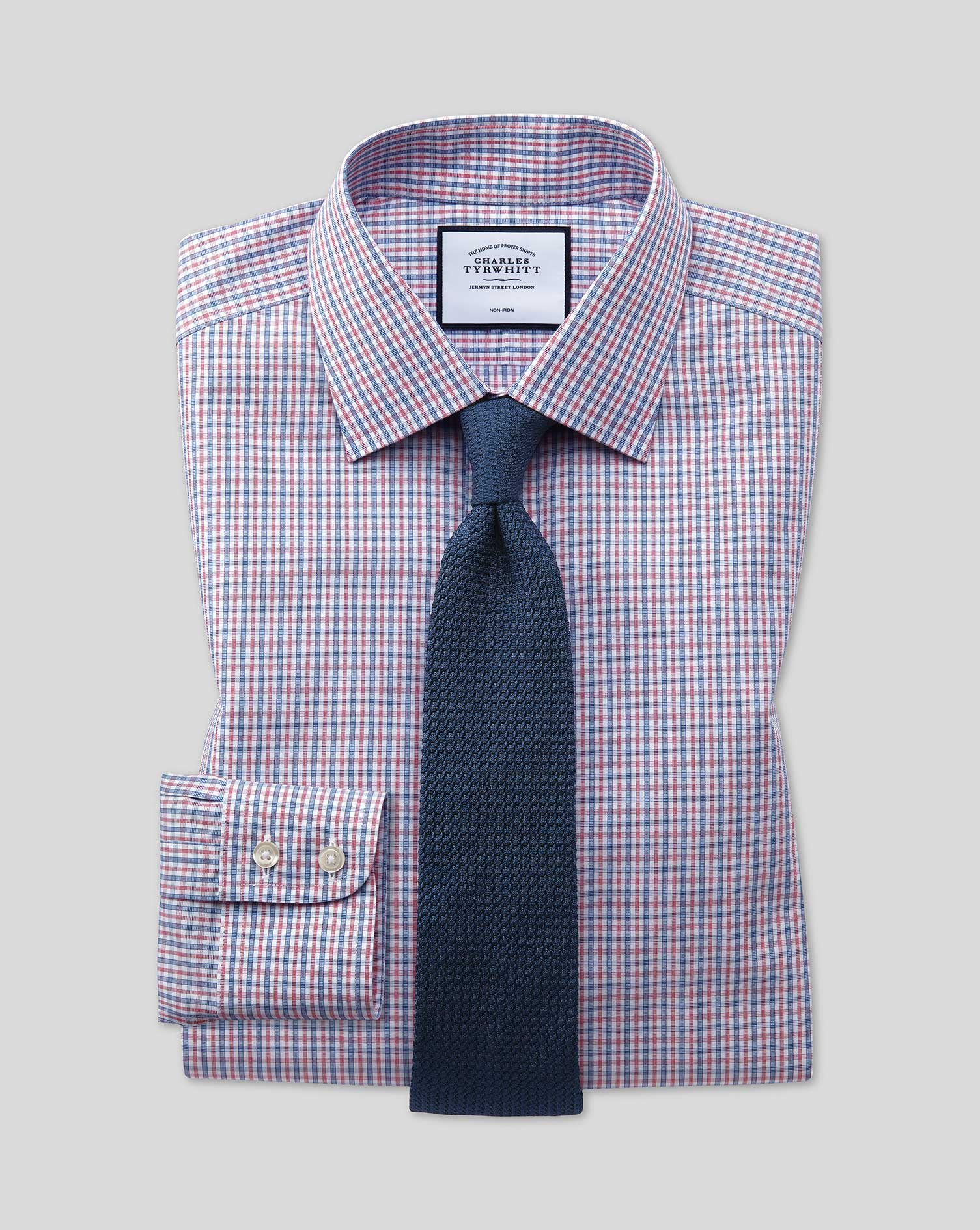 Classic Fit Non-Iron Blue and Red Check Cotton Formal Shirt Single Cuff Size 15.5/35 by Charles Tyrw