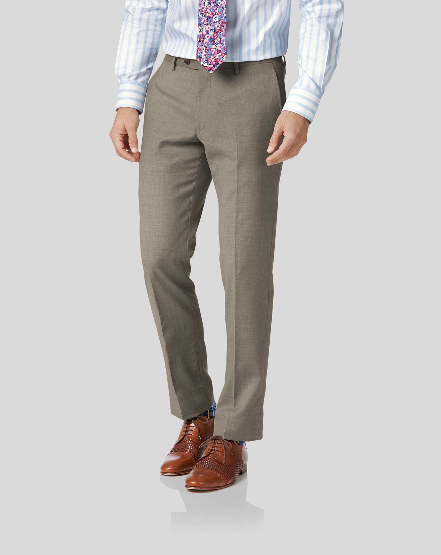 Fawn classic fit twill business suit trousers