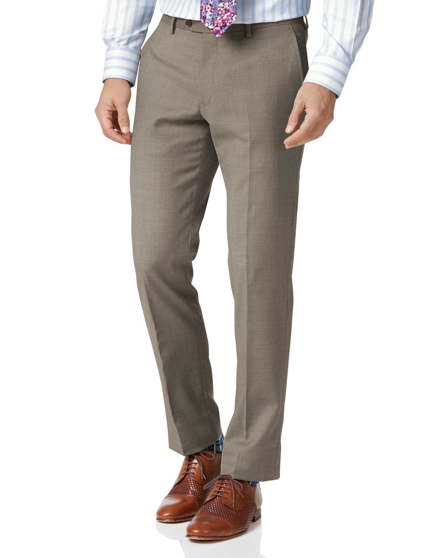Fawn Classic Fit Twill Business Suit Trousers Size W32 L38 by Charles Tyrwhitt
