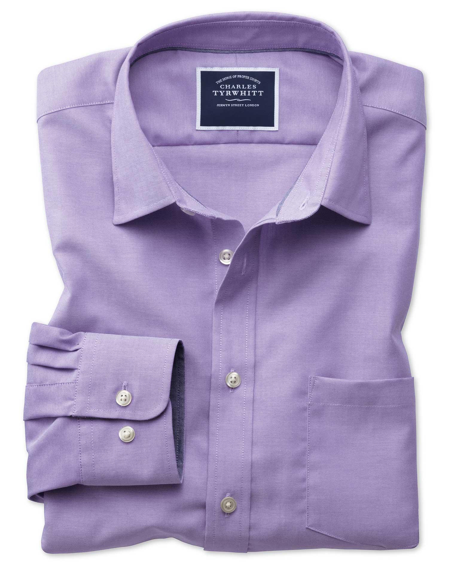 Slim fit non iron oxford purple plain shirt charles tyrwhitt for Slim fit non iron shirts
