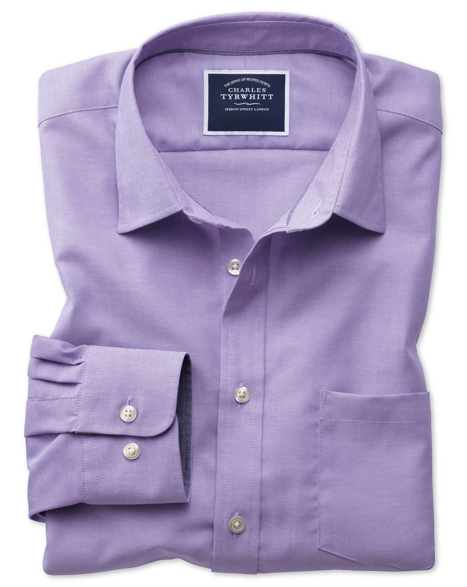 Classic Fit Non-Iron Oxford Purple Plain Cotton Shirt Single Cuff Size Large by Charles Tyrwhitt