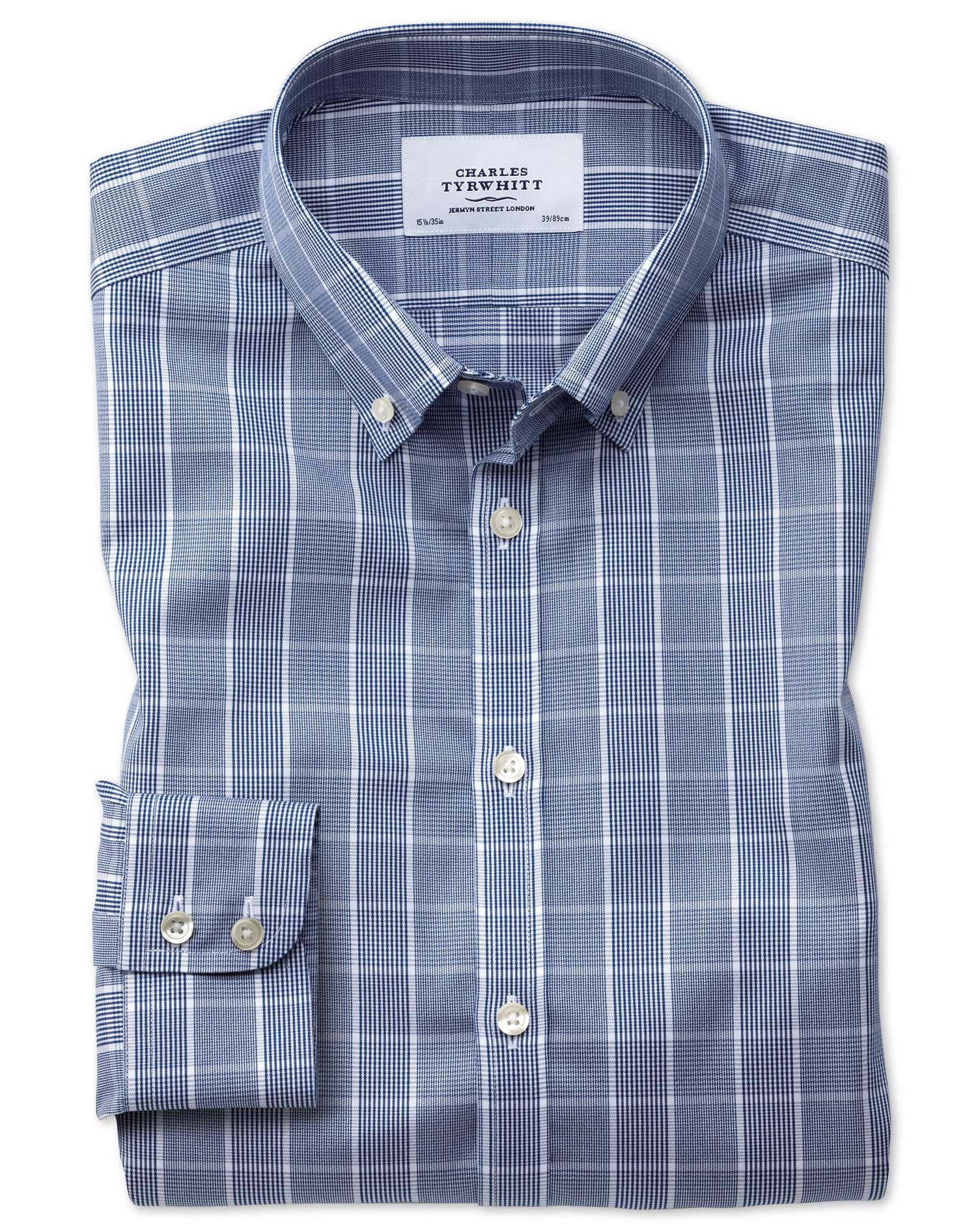 Slim Fit Button-Down Non-Iron Prince Of Wales Navy Blue and White Cotton Formal Shirt Single Cuff Si