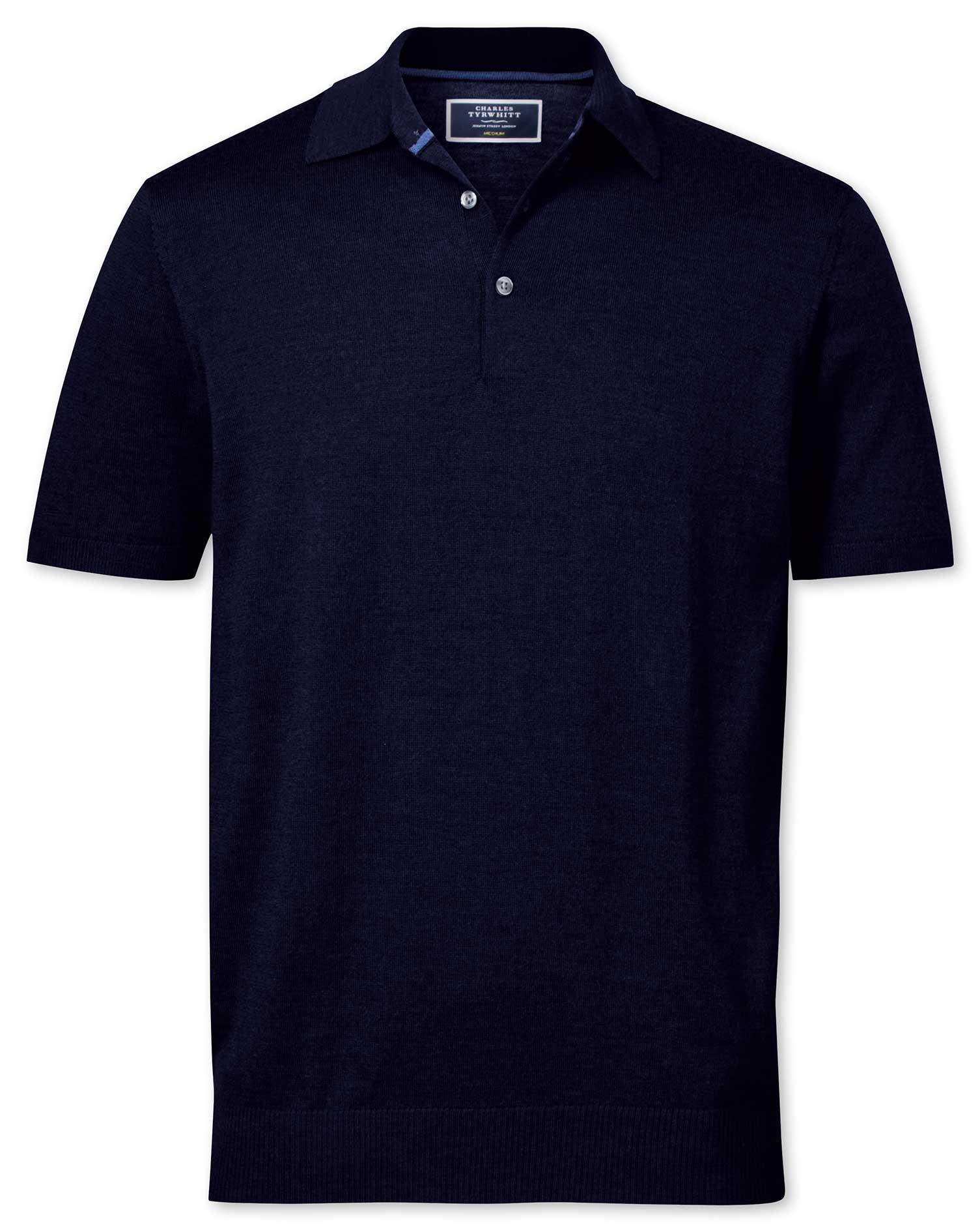 Navy Merino Wool Polo Collar Short Sleeve Jumper Size Large by Charles Tyrwhitt