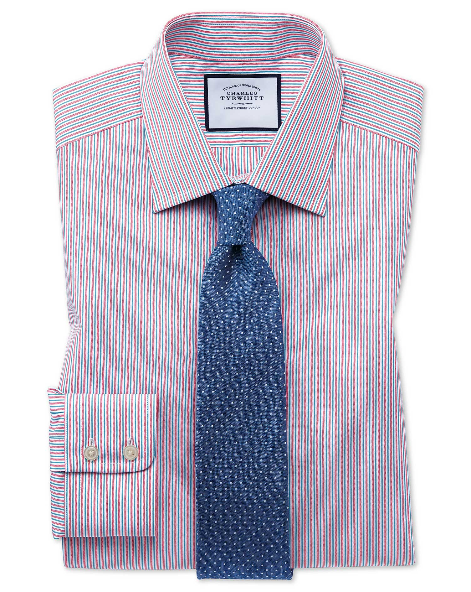 Slim Fit Egyptian Cotton Poplin Multi Pink Stripe Formal Shirt Single Cuff Size 16.5/34 by Charles T