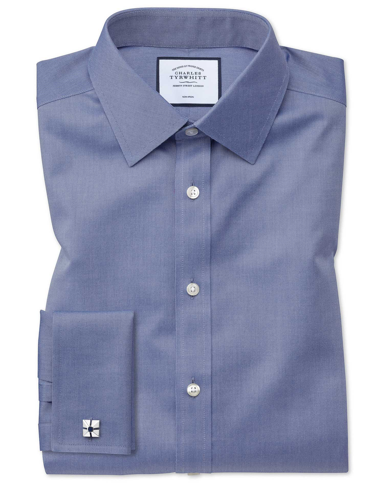 Classic Fit Non-Iron Twill Mid Blue Cotton Formal Shirt Double Cuff Size 19/37 by Charles Tyrwhitt