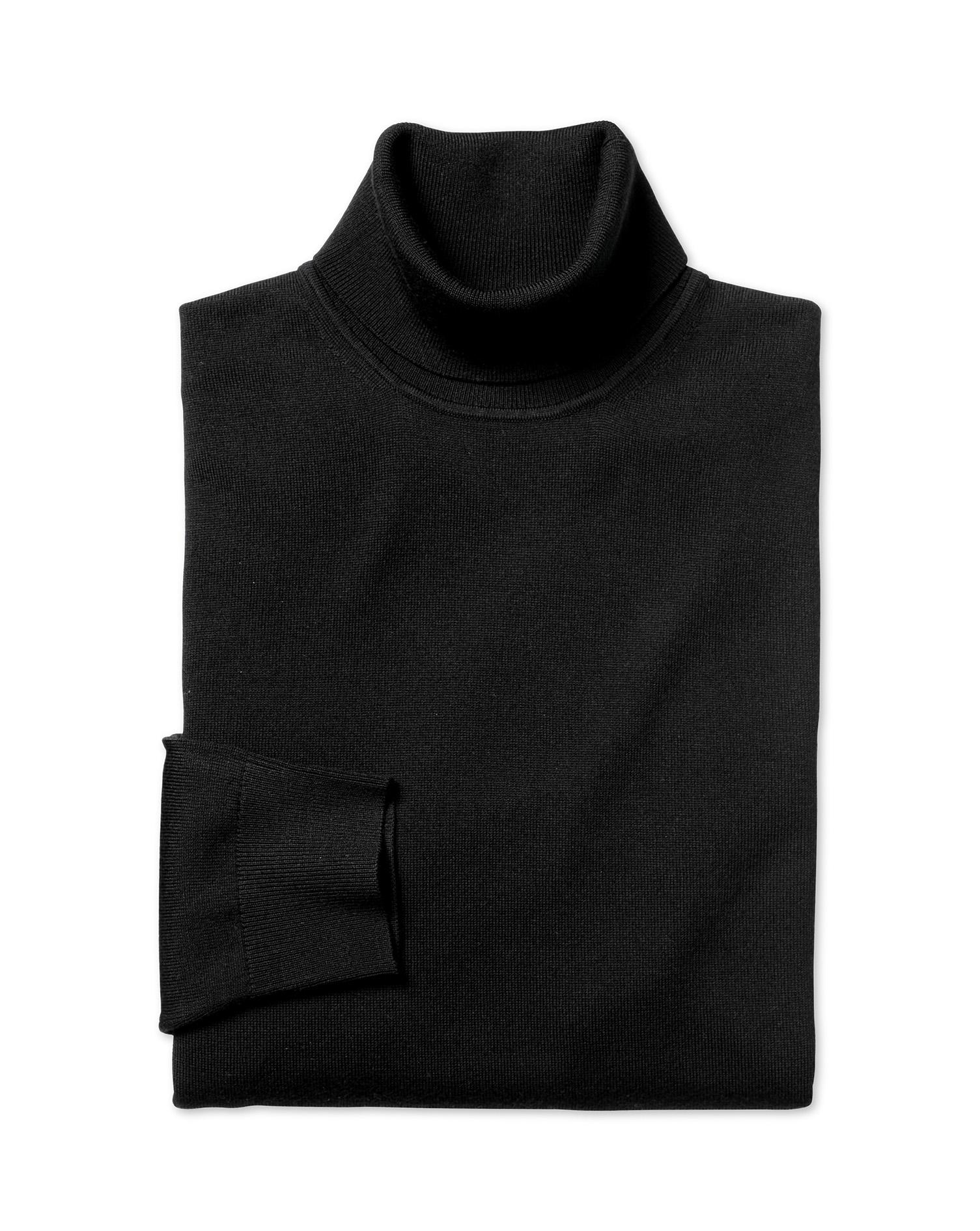 Black Merino Wool Roll Neck Jumper Size Small by Charles Tyrwhitt