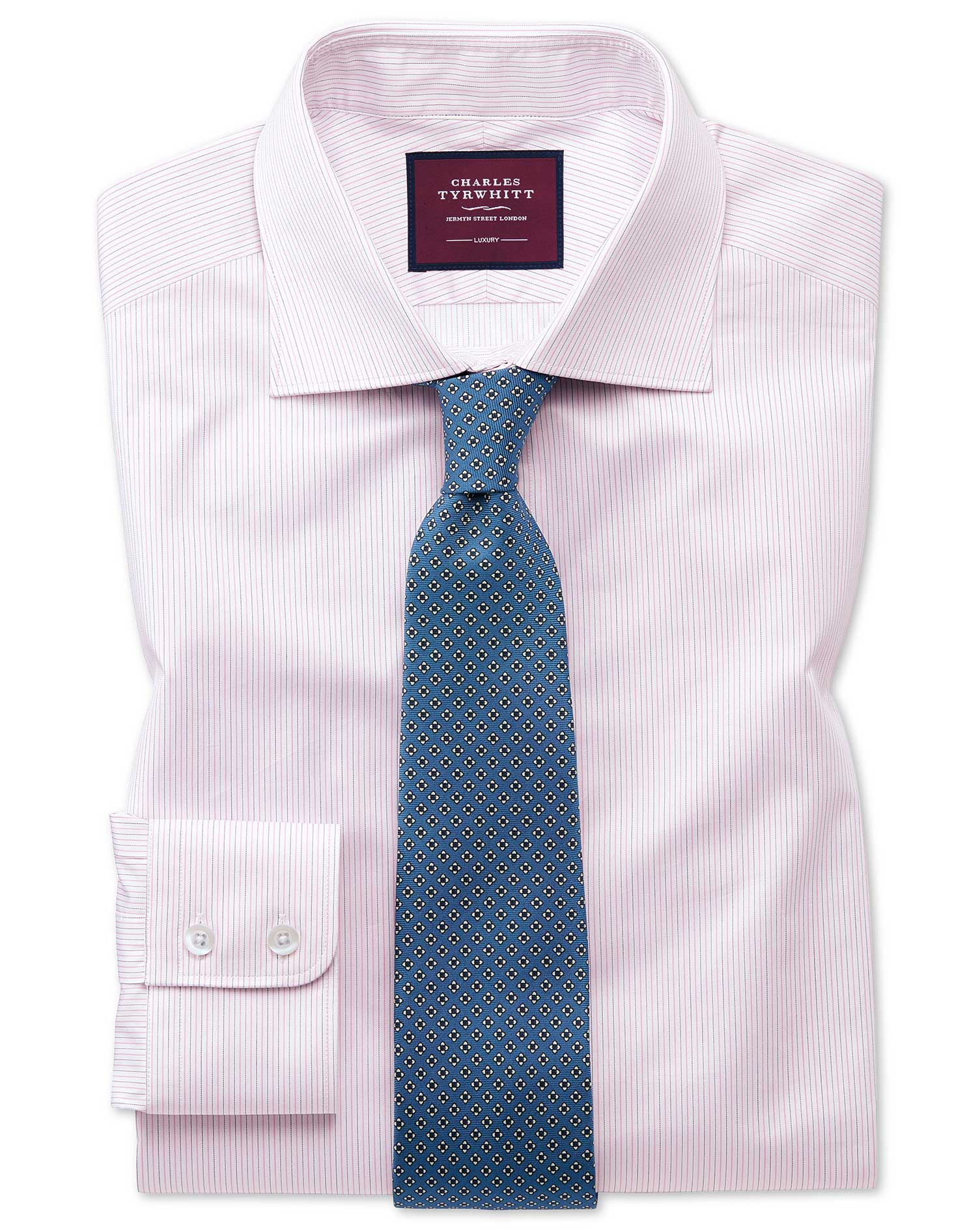 Slim Fit Luxury Fine Stripe Pink Egyptian Cotton Formal Shirt Single Cuff Size 17/37 by Charles Tyrw