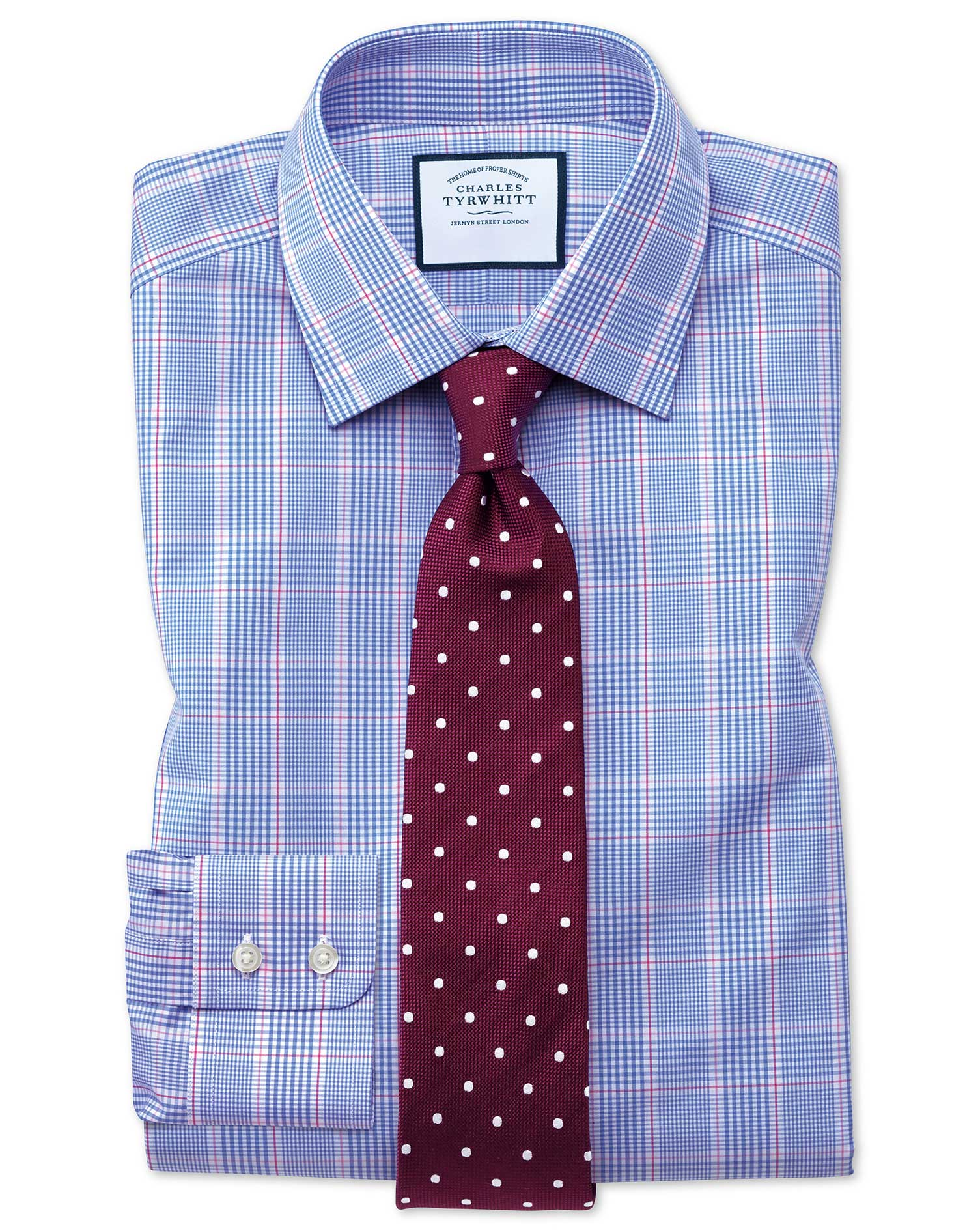Extra slim fit prince of wales check blue shirt charles for Slim fit check shirt
