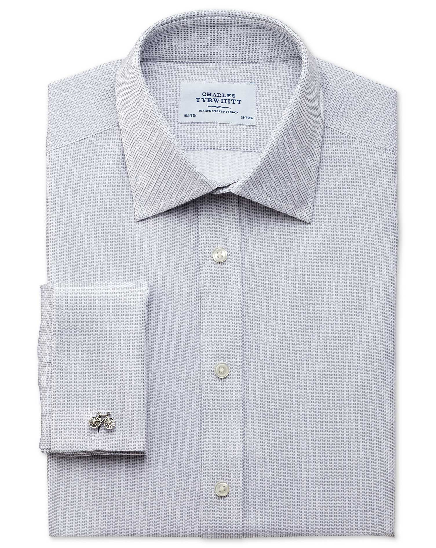 Extra Slim Fit Egyptian Cotton Diamond Texture Light Grey Formal Shirt Single Cuff Size 15.5/34 by C