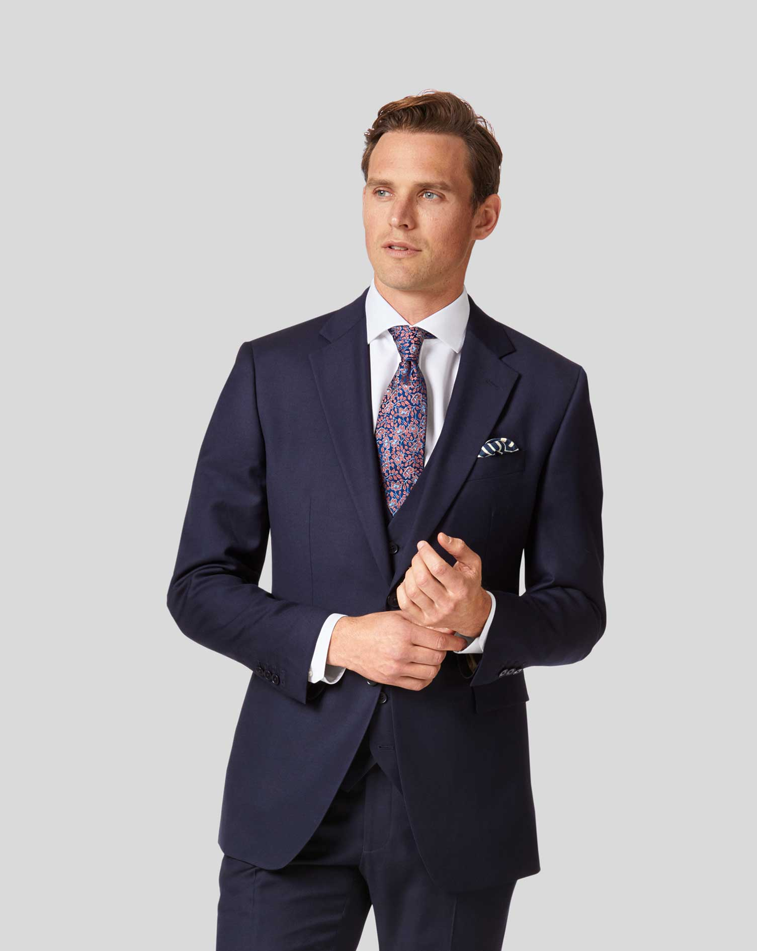 Wool Navy Slim Fit Twill Business Suit Jacket