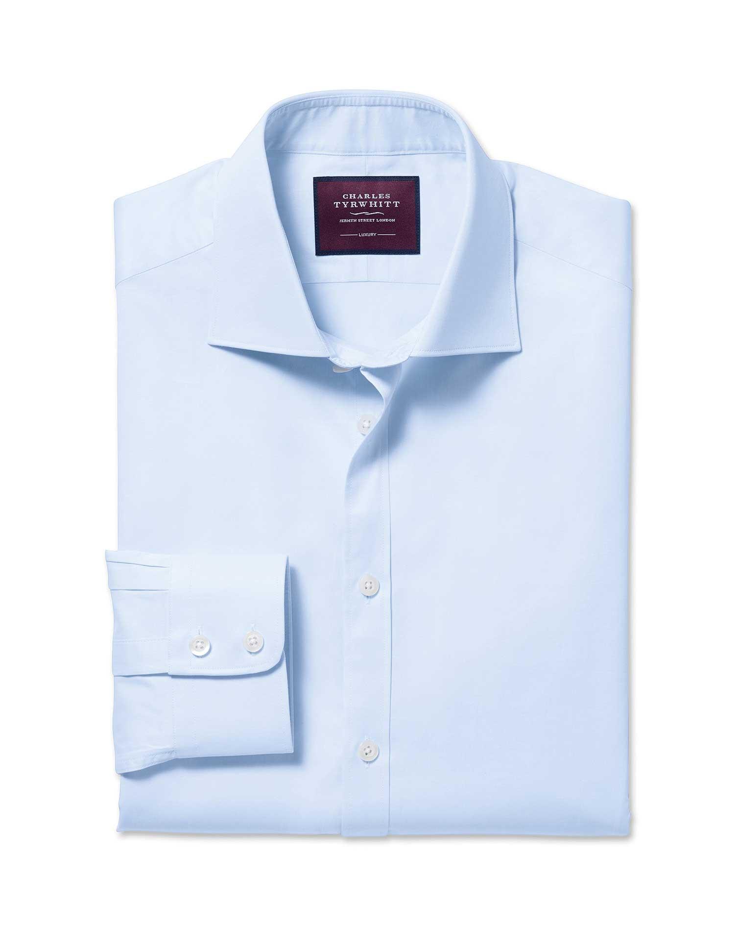 Extra Slim Fit Semi-Cutaway Luxury Twill Light Blue Egyptian Cotton Formal Shirt Single Cuff Size 16