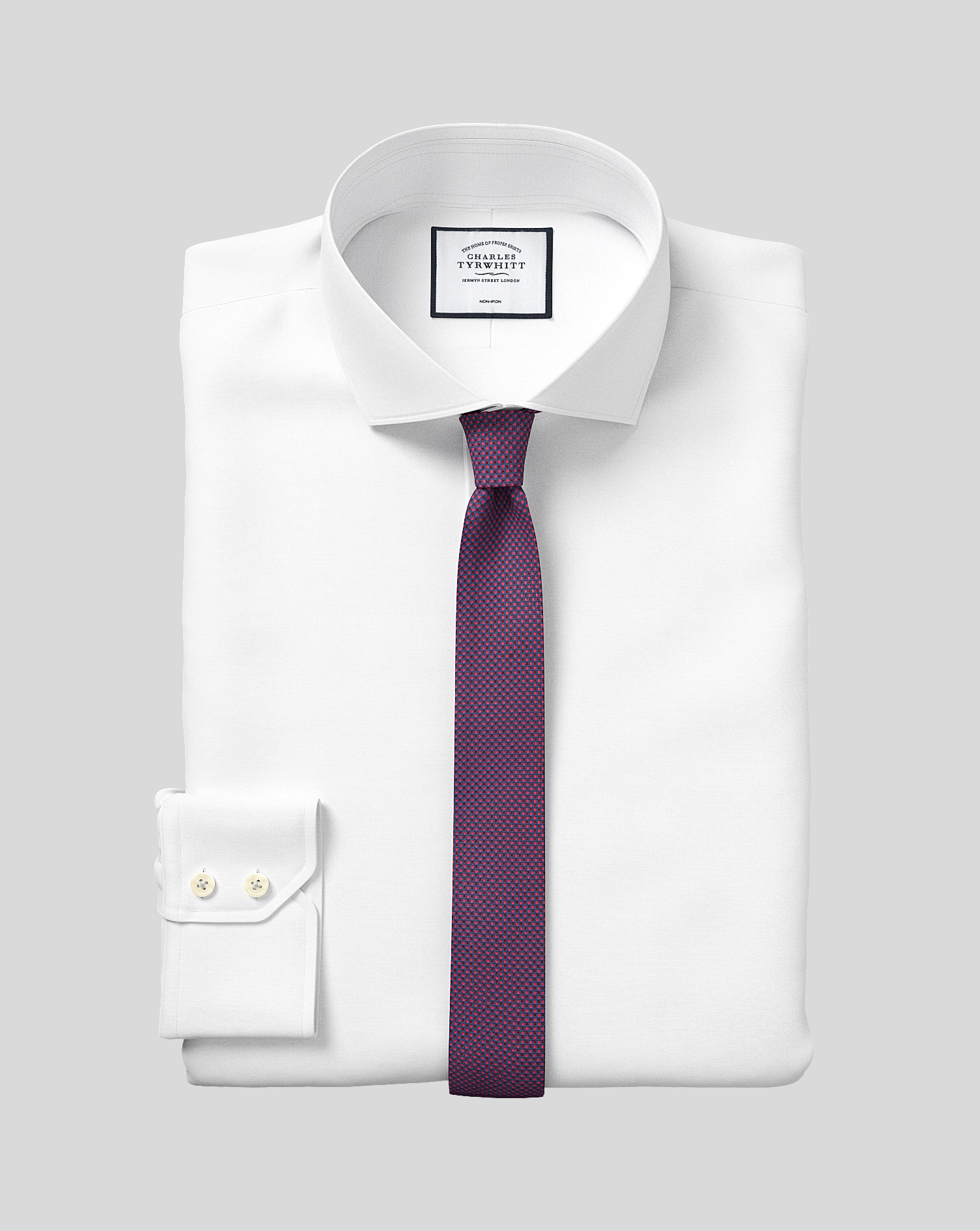 Slim Fit Non-Iron 4-Way Stretch White Cotton Formal Shirt Single Cuff Size 17/35 by Charles Tyrwhitt