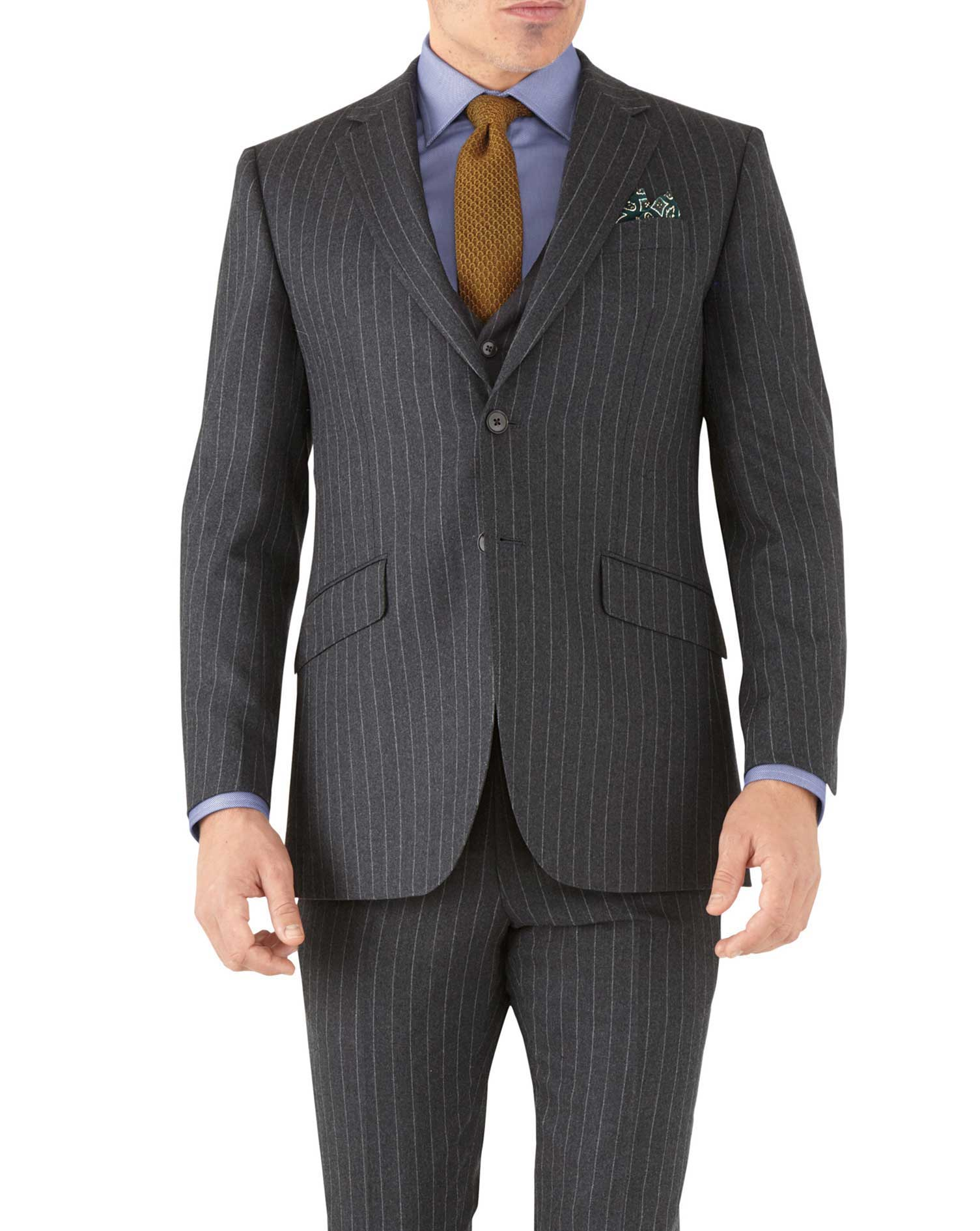Charcoal Stripe Slim Fit Flannel Business Suit Wool Jacket Size 40 Long by Charles Tyrwhitt