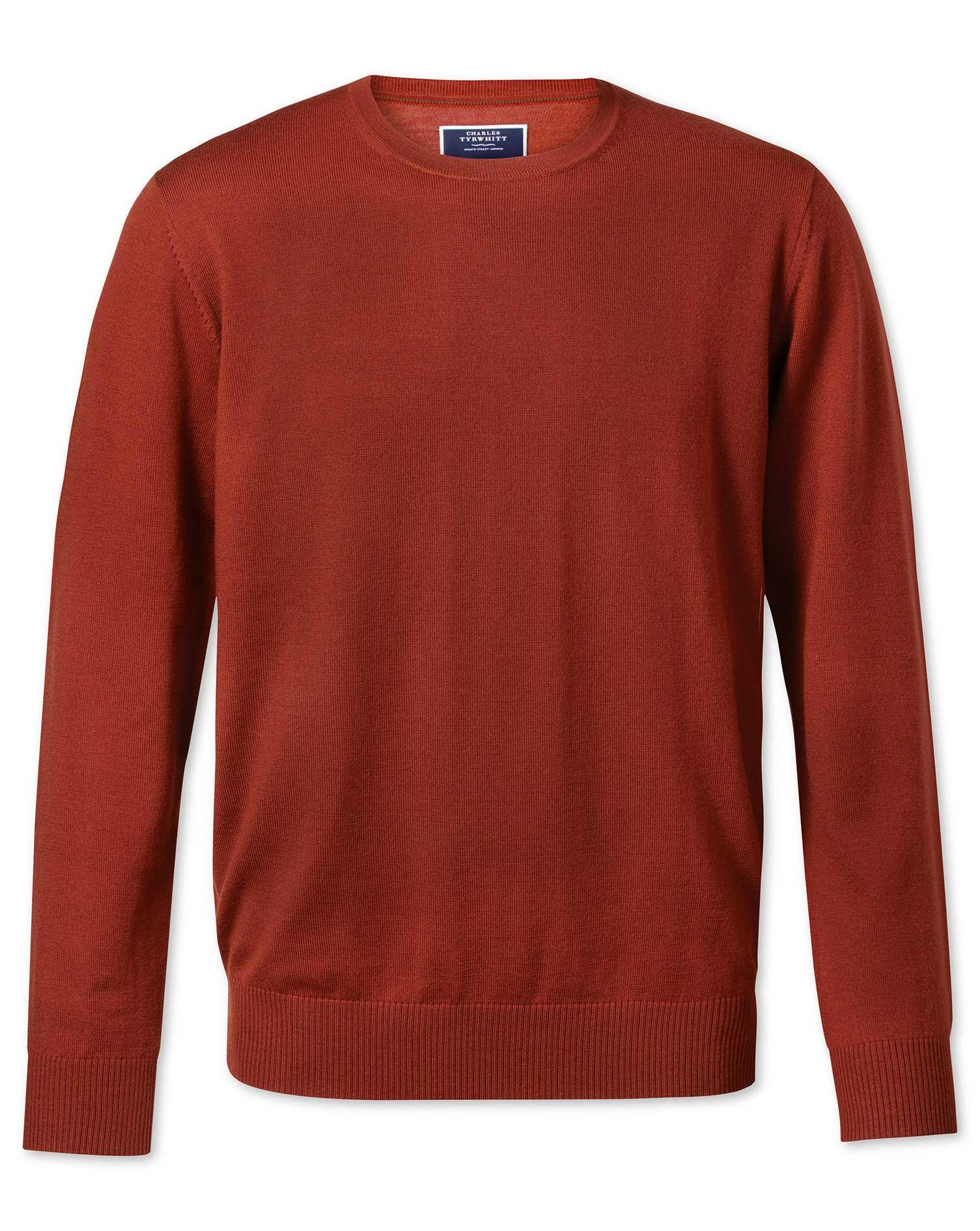 Rust Crew Neck Merino Wool Jumper Size Medium by Charles Tyrwhitt
