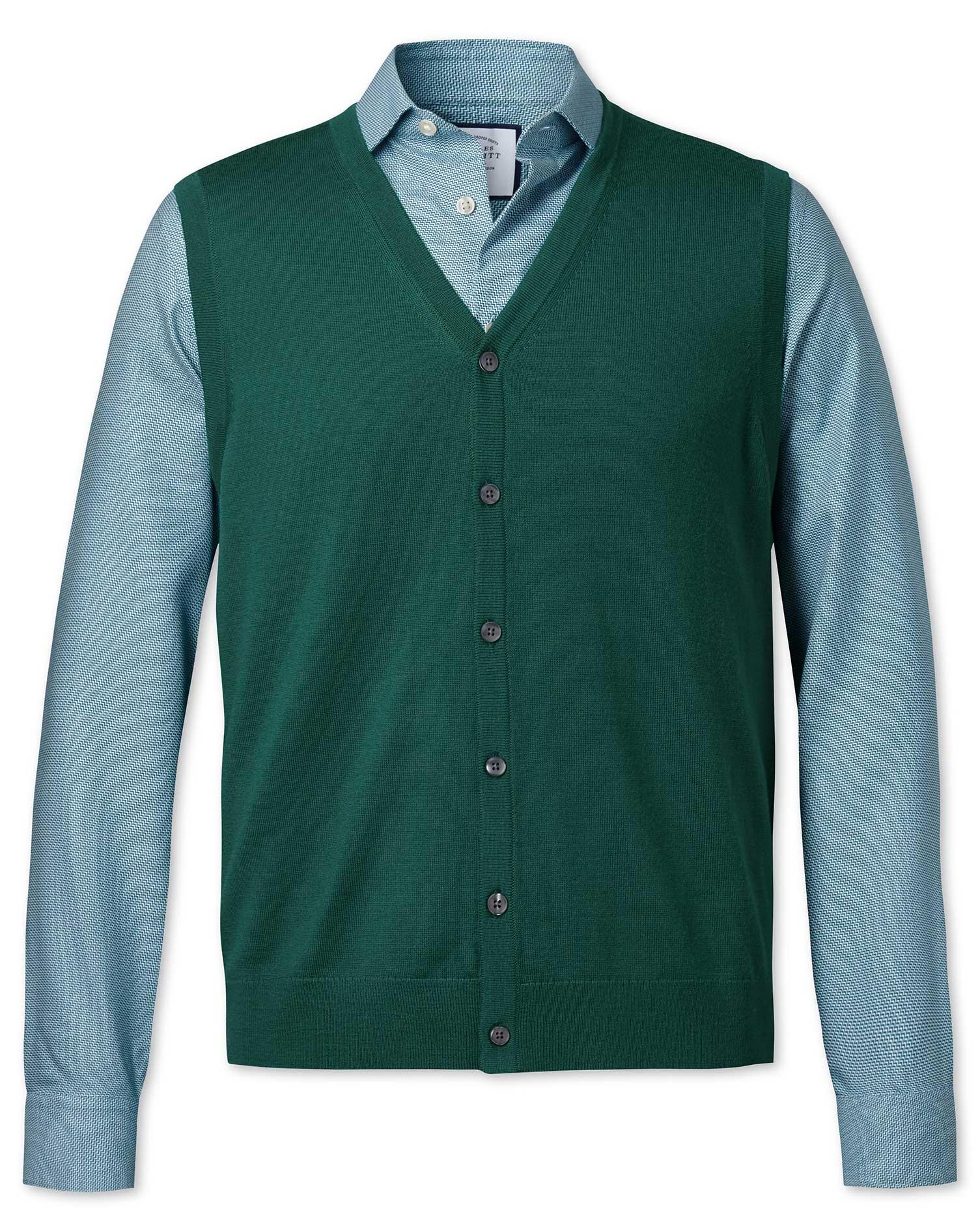 Dark Green Merino Merino Wool Waistcoat Size XXL by Charles Tyrwhitt