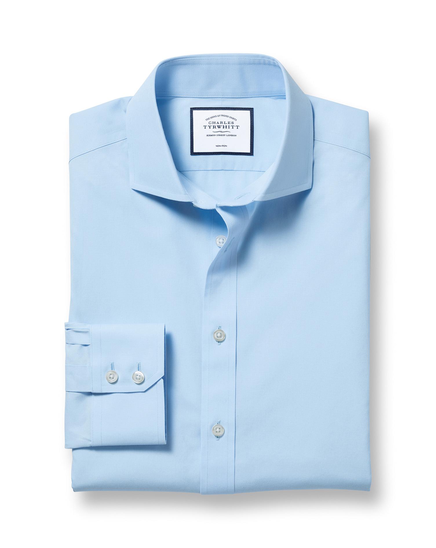 Cotton Extra Slim Fit Sky Blue Non-Iron Poplin Cutaway Shirt