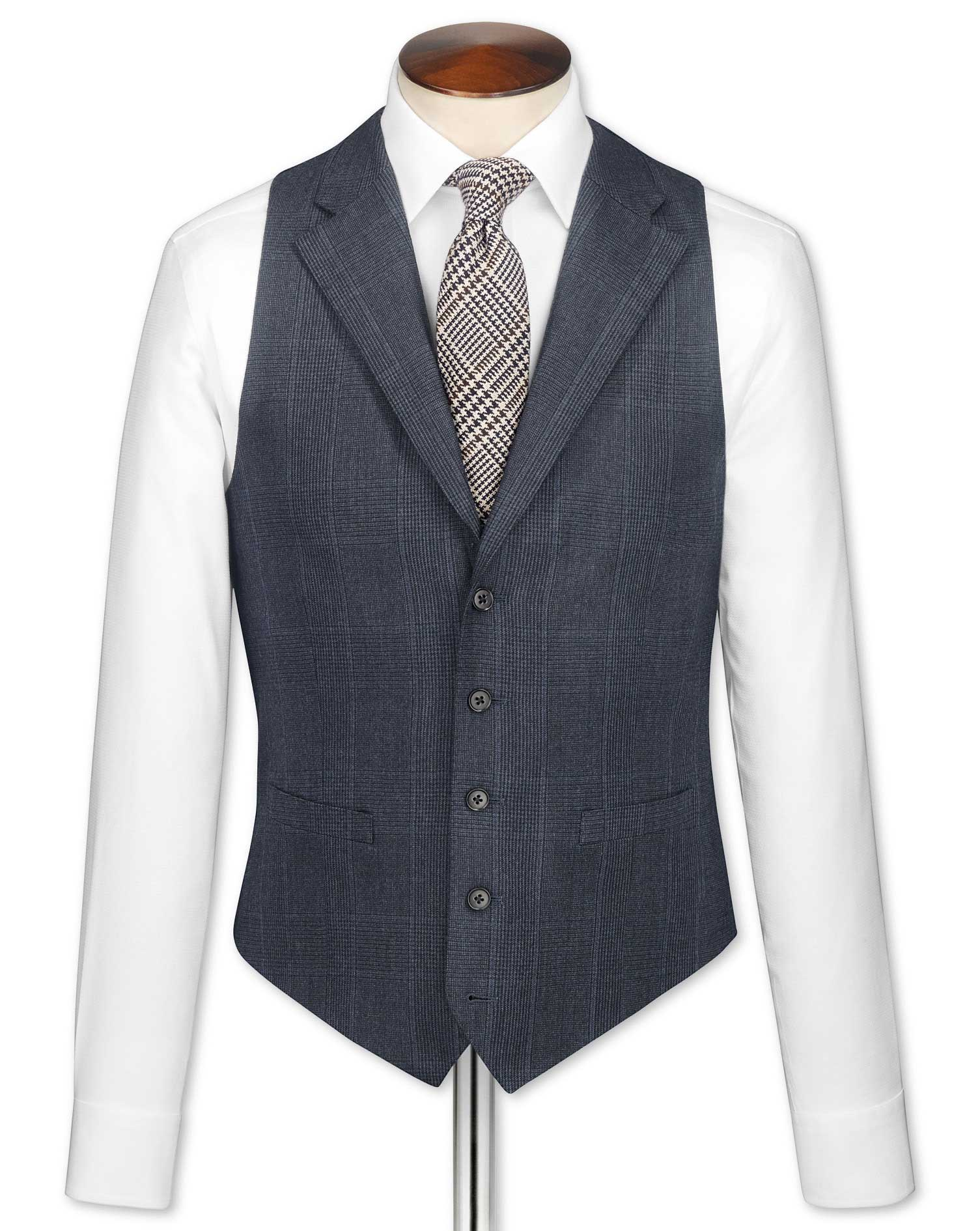 Navy Check Saxony Business Suit Wool Waistcoat Size w38 by Charles Tyrwhitt