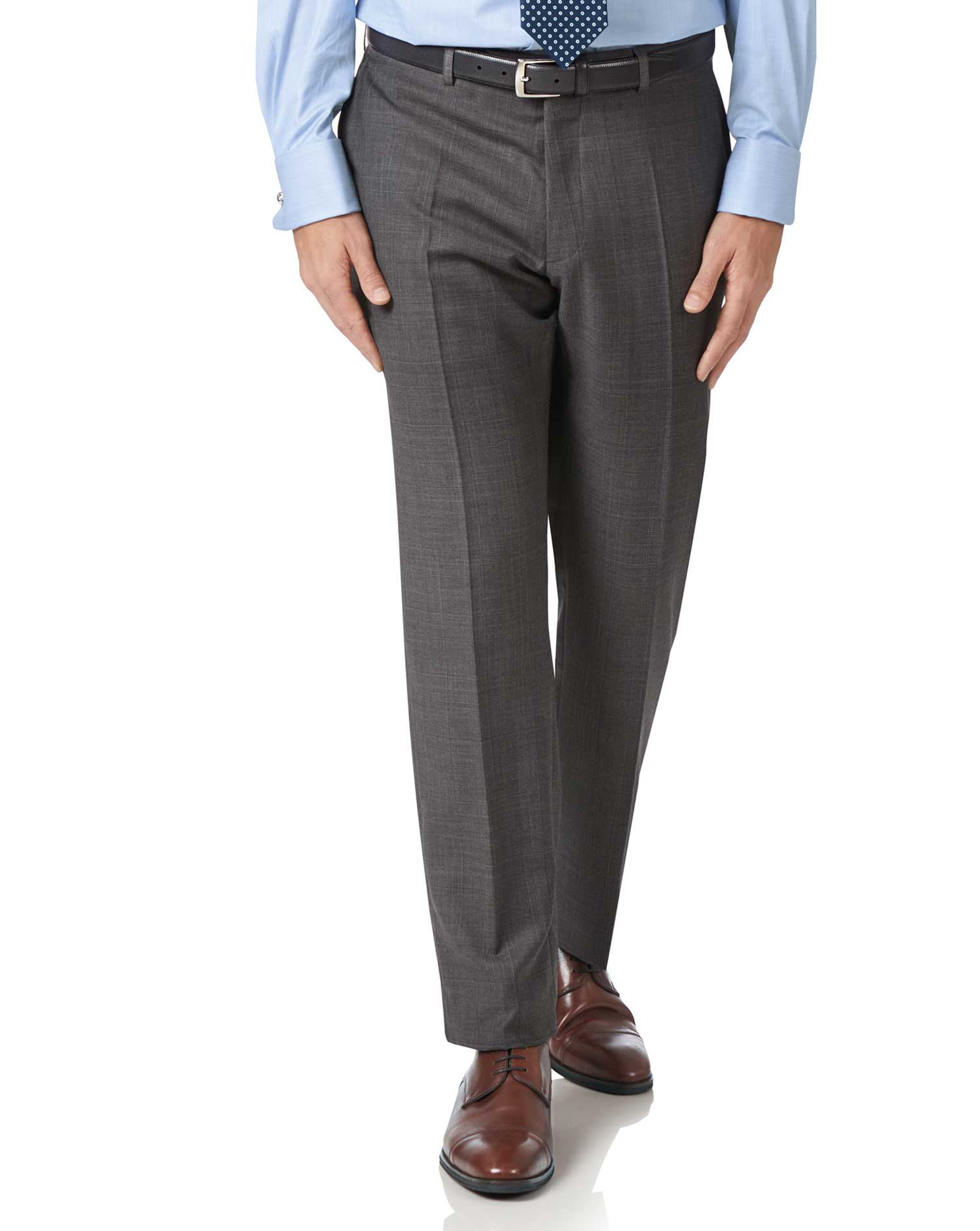 Grey Slim Fit Luxury Italian Check Suit Trousers Size W38 L38 by Charles Tyrwhitt