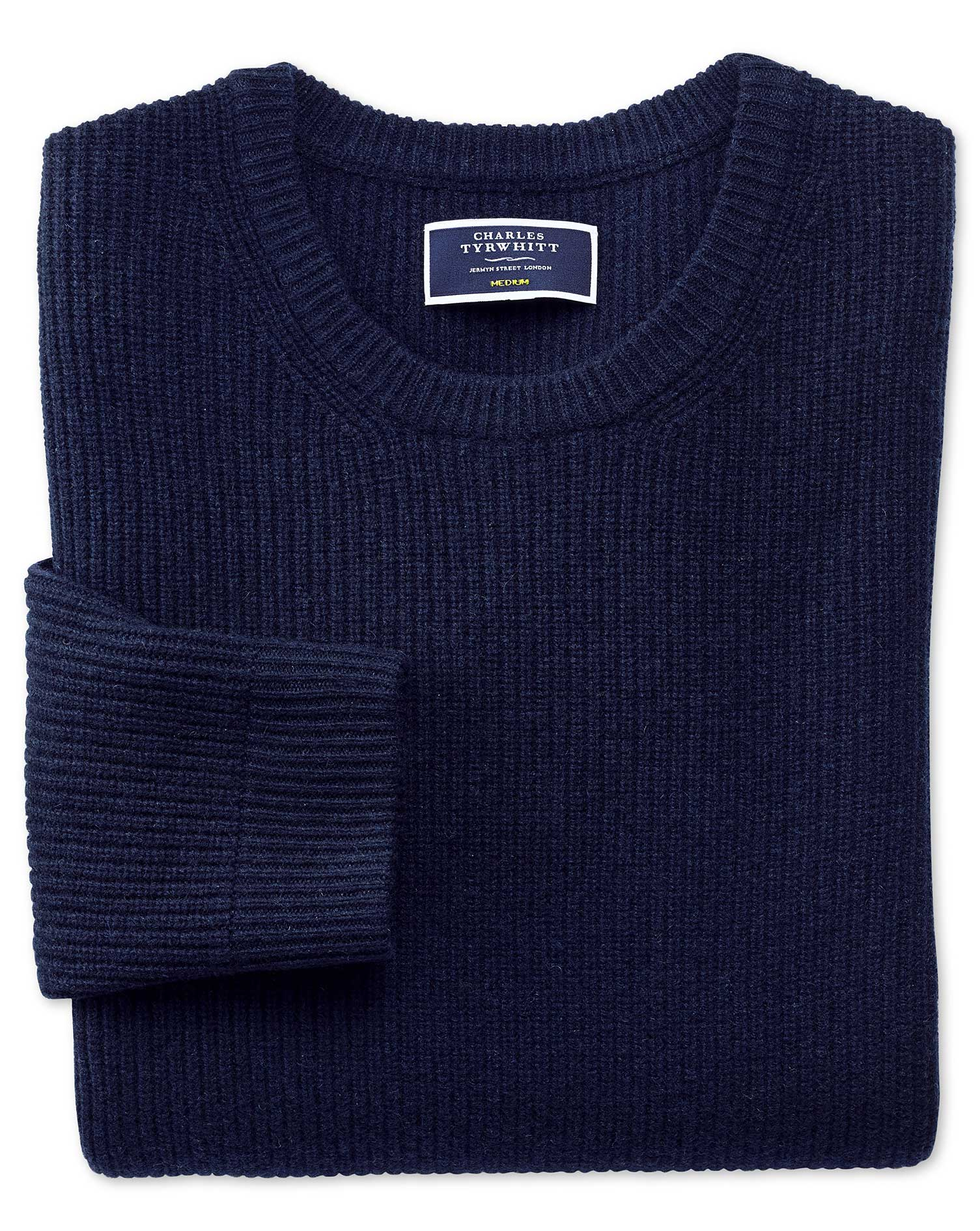 Navy Lambswool Rib Crew Neck Jumper Size Small by Charles Tyrwhitt