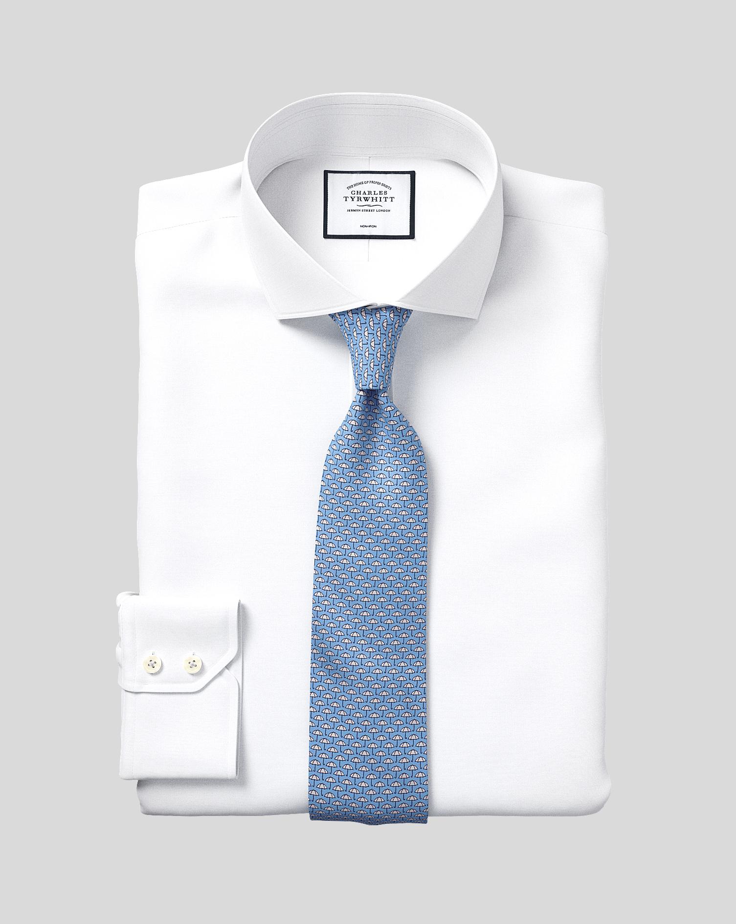 Classic Fit Non-Iron Cutaway White Tyrwhitt Cool Cotton Formal Shirt Single Cuff Size 17/35 by Charl