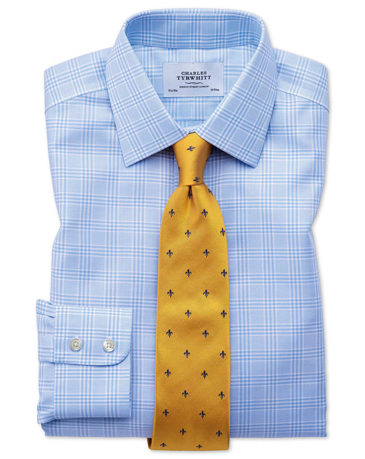 Slim Fit Non Iron Prince Of Wales Sky Blue Shirt Charles
