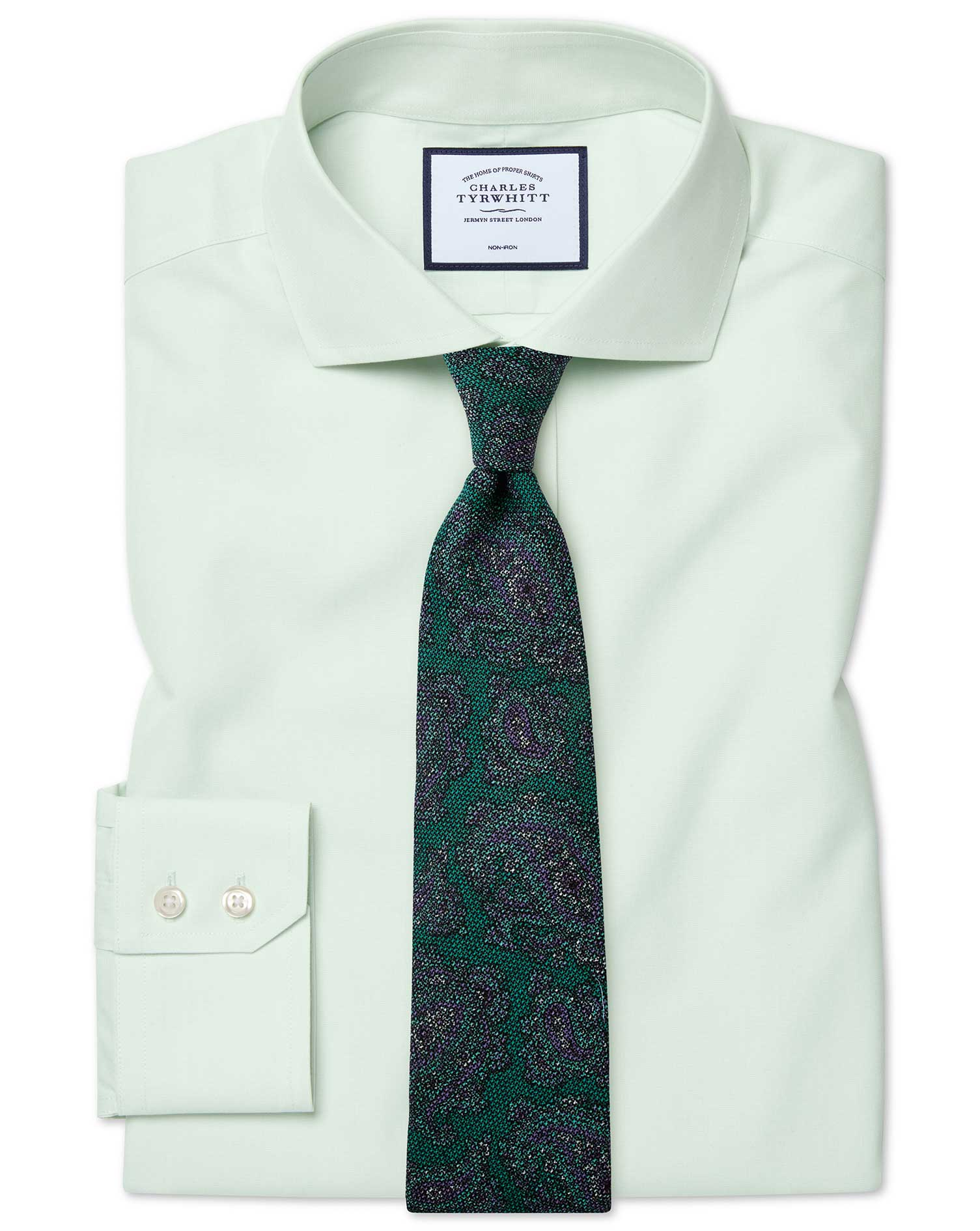 Slim Fit Cutaway Non-Iron Poplin Green Cotton Formal Shirt Double Cuff Size 15.5/32 by Charles Tyrwh