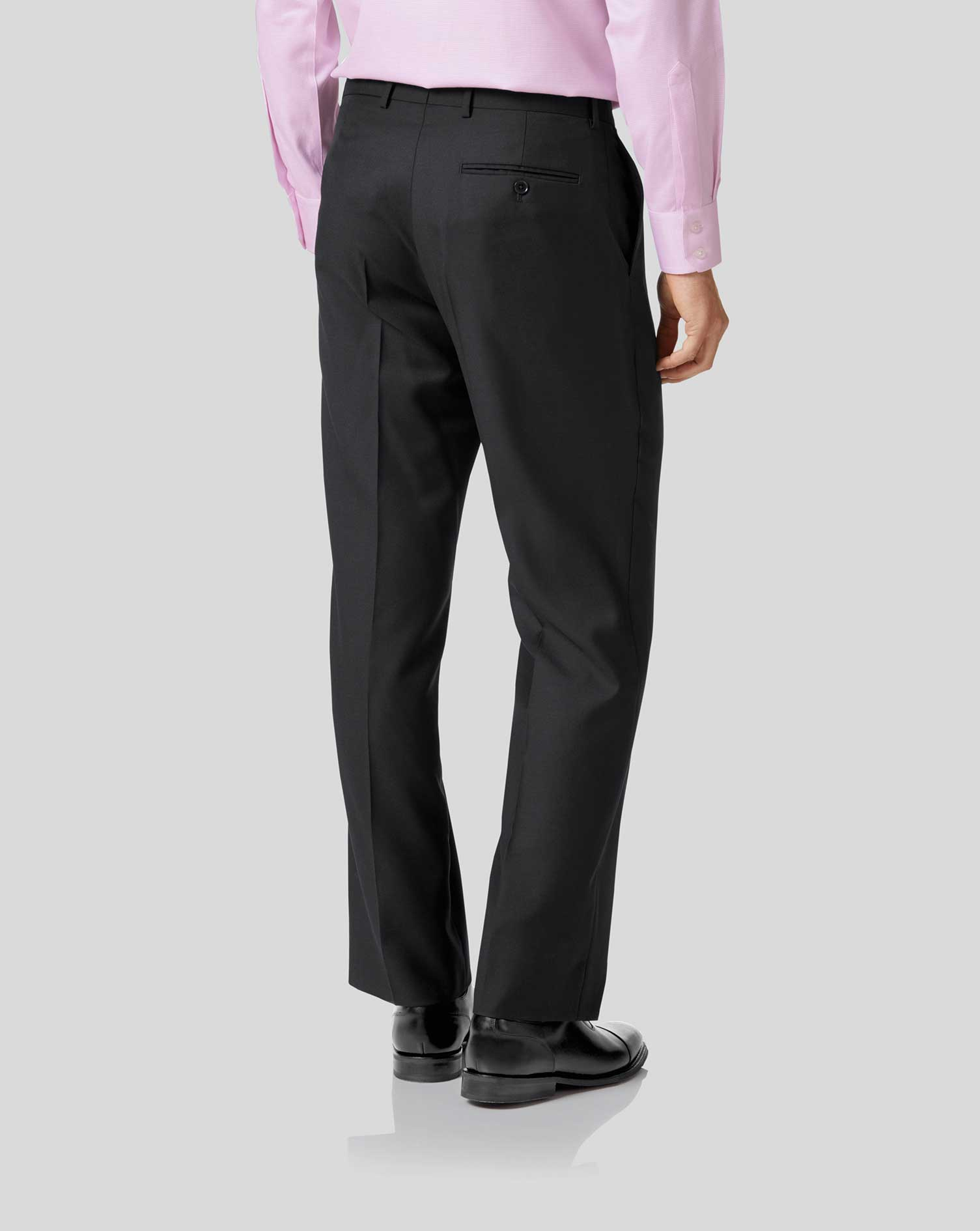 Black classic fit twill business suit pants
