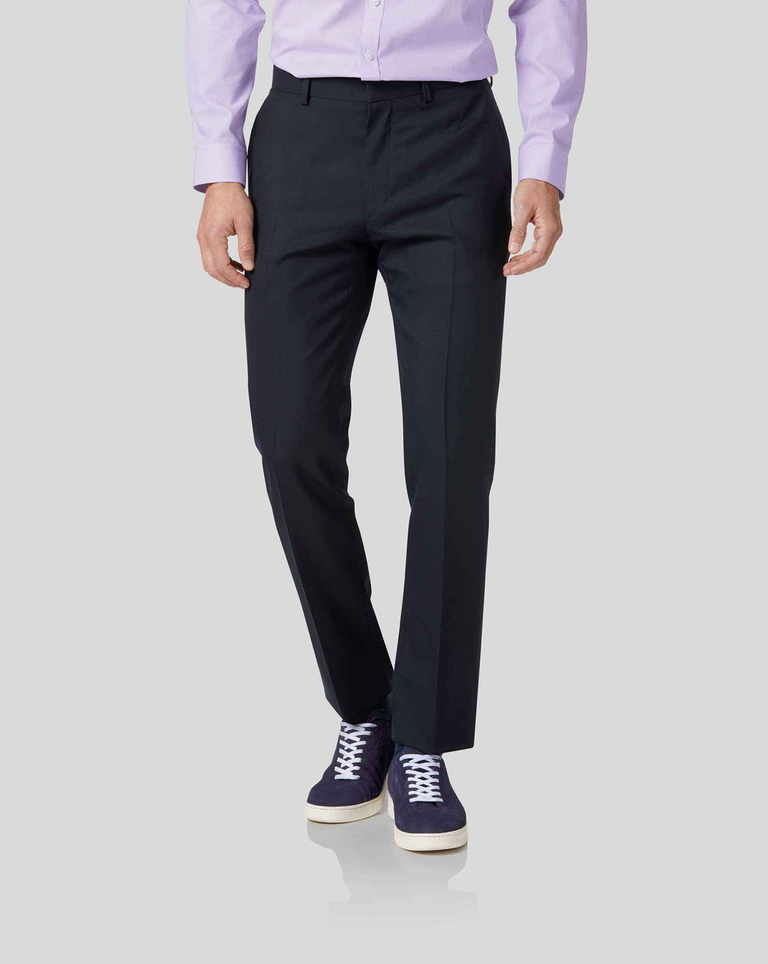 Midnight blue slim fit merino business suit pants