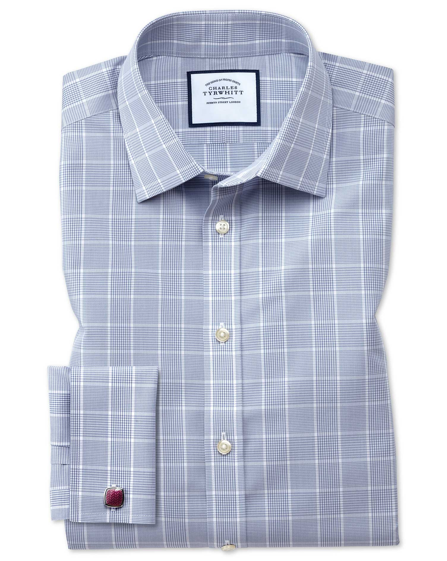 Slim Fit Non-Iron Prince Of Wales Grey Cotton Formal Shirt Double Cuff Size 17.5/34 by Charles Tyrwh