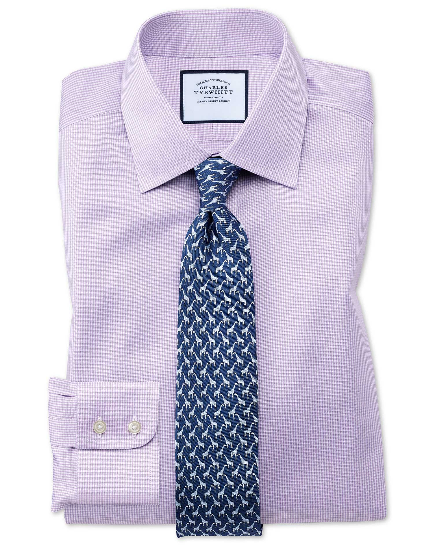 Cotton Slim Fit Non-Iron Lilac Puppytooth Shirt