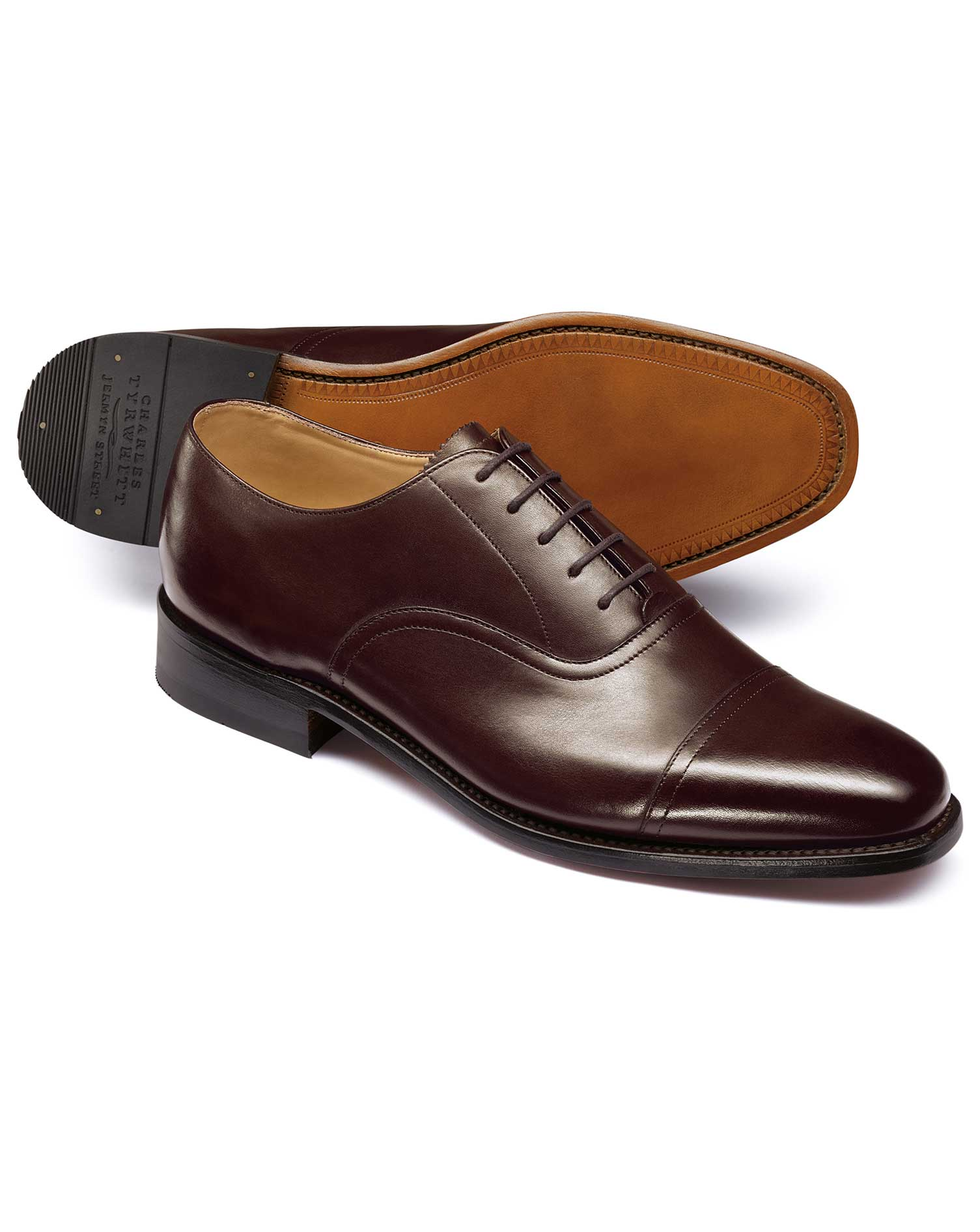 Chocolate Goodyear Welted Oxford Shoe Size 10.5 W by Charles Tyrwhitt