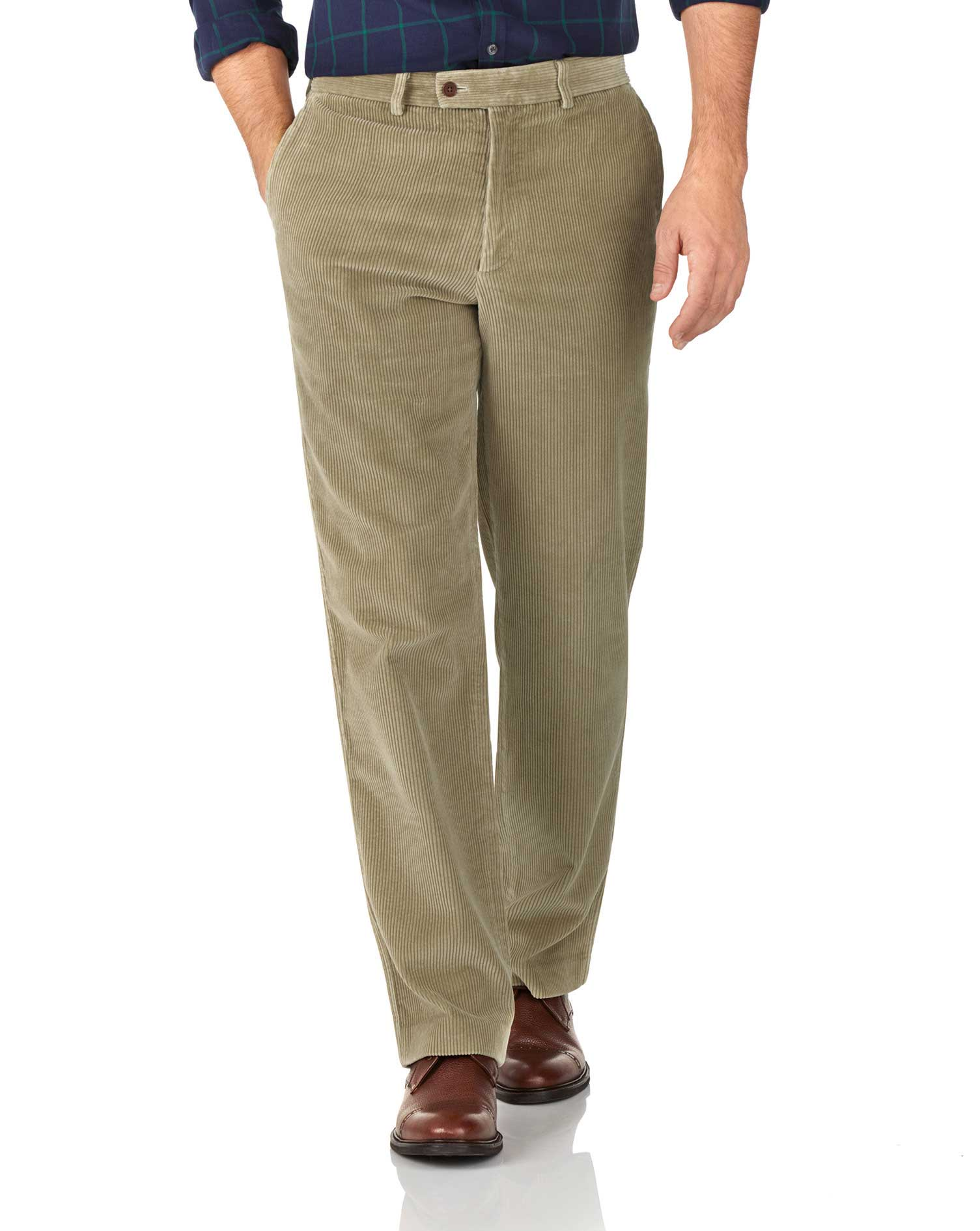 Light Brown Classic Fit Jumbo Cord Trousers Size W40 L34 by Charles Tyrwhitt