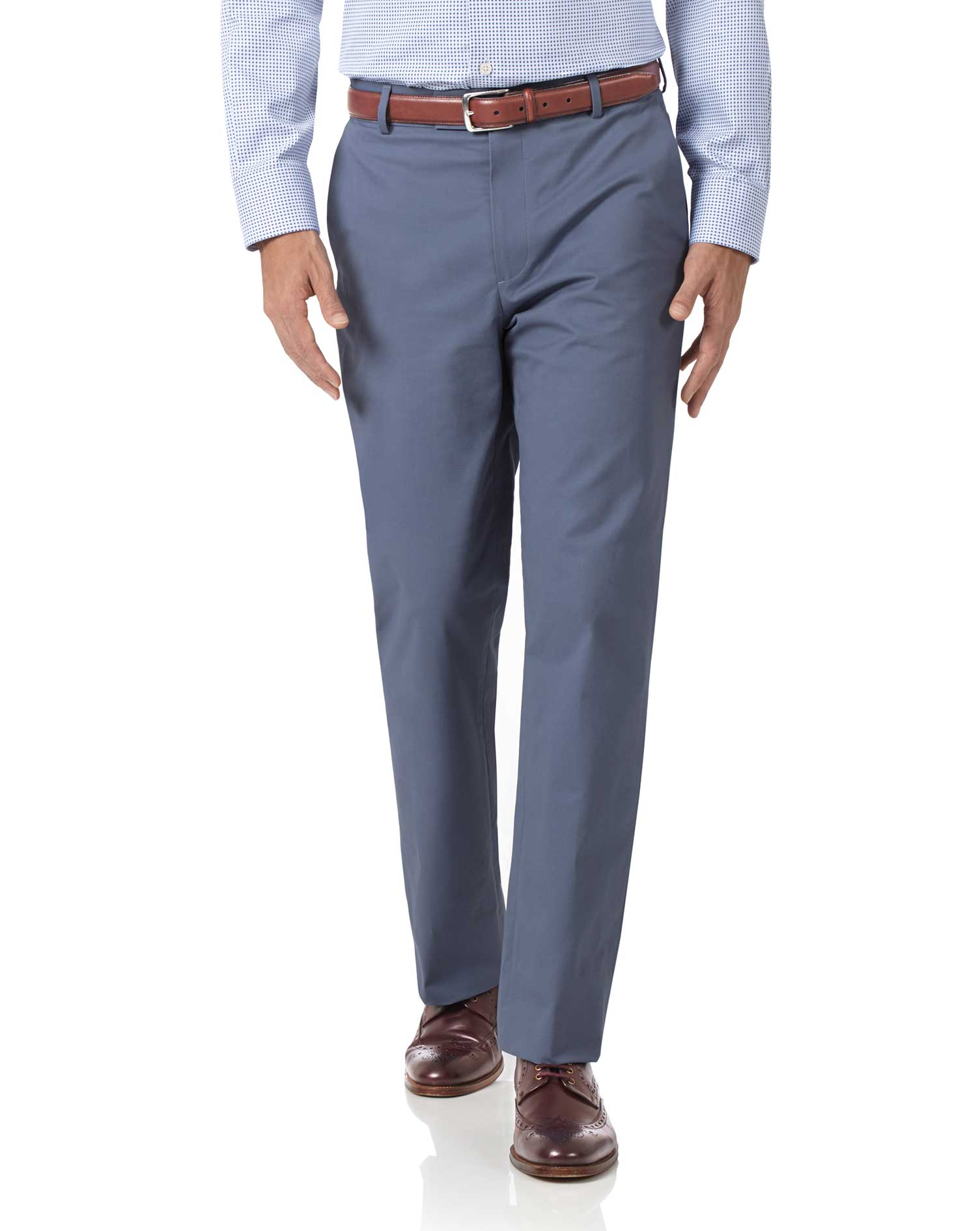 Blue Classic Fit Stretch Cotton Chino Trousers Size W42 L30 by Charles Tyrwhitt