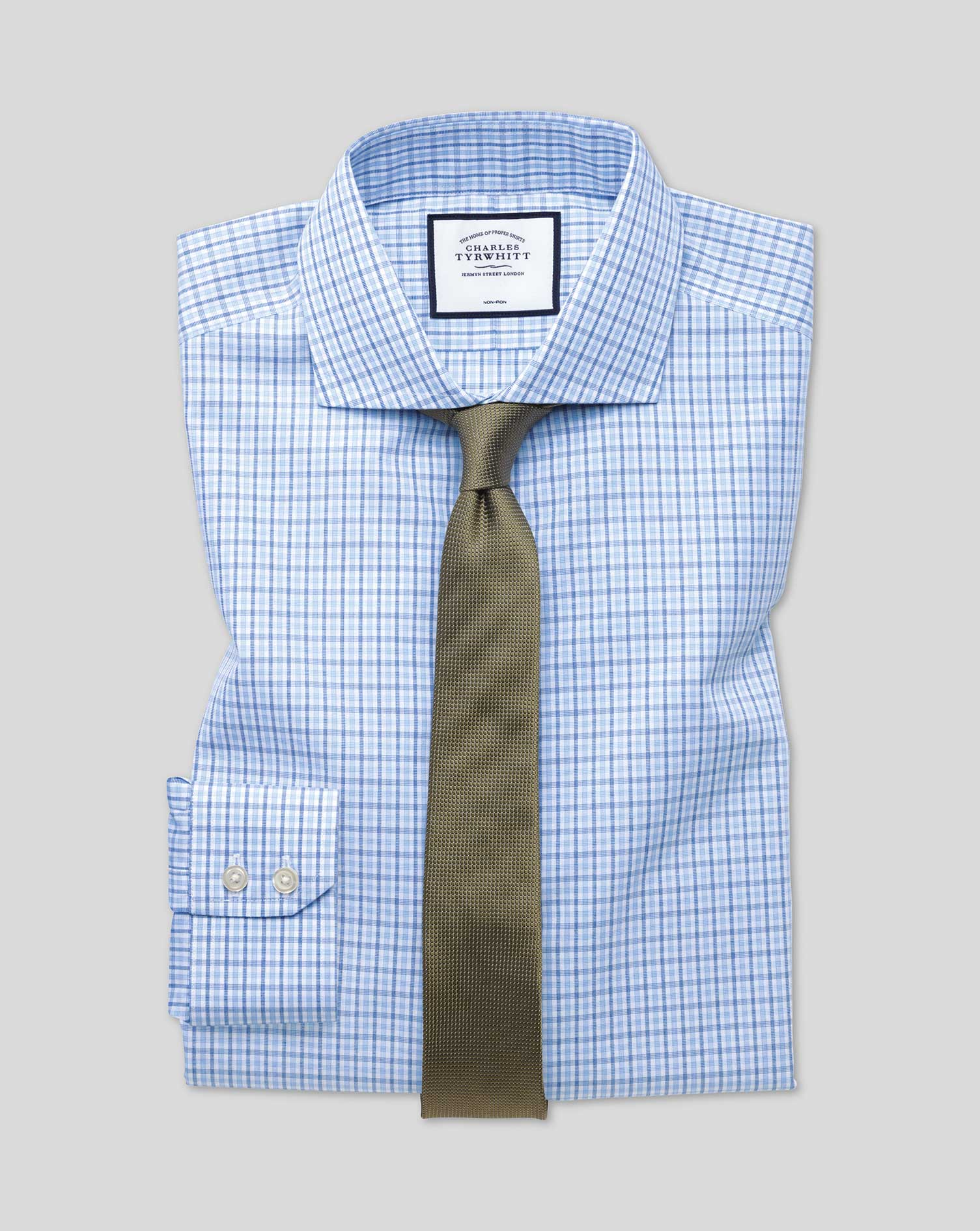 Extra Slim Fit Non-Iron Blue and Sky Blue Check Cotton Formal Shirt Double Cuff Size 17/35 by Charle