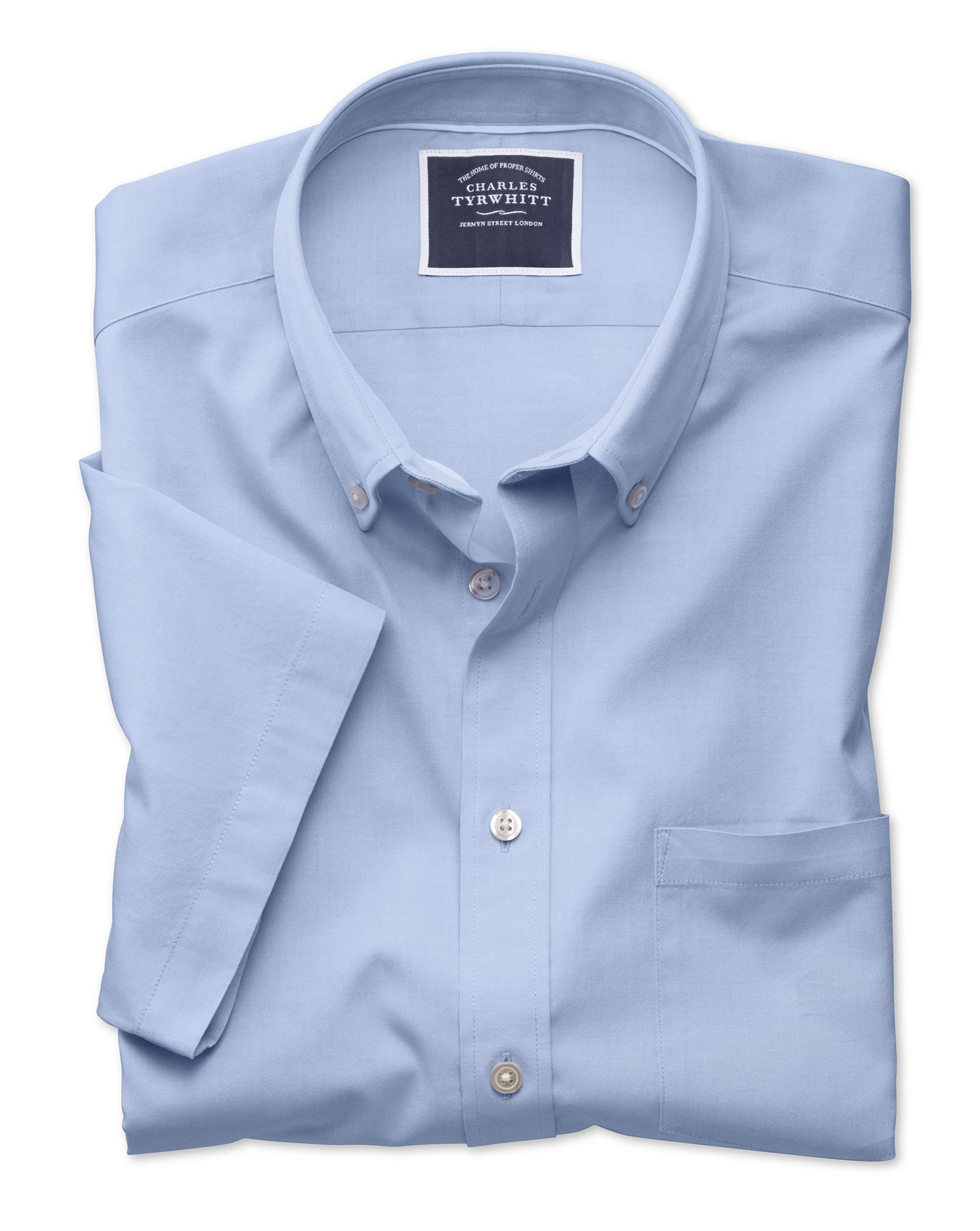 Classic Fit Sky Blue Washed Oxford Short Sleeve Cotton Shirt Single Cuff Size XL by Charles Tyrwhitt