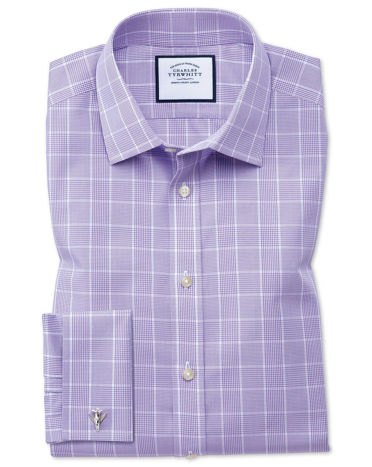 Slim Fit Non-Iron Prince Of Wales Lilac Cotton Formal Shirt Double Cuff Size 15.5/32 by Charles Tyrw