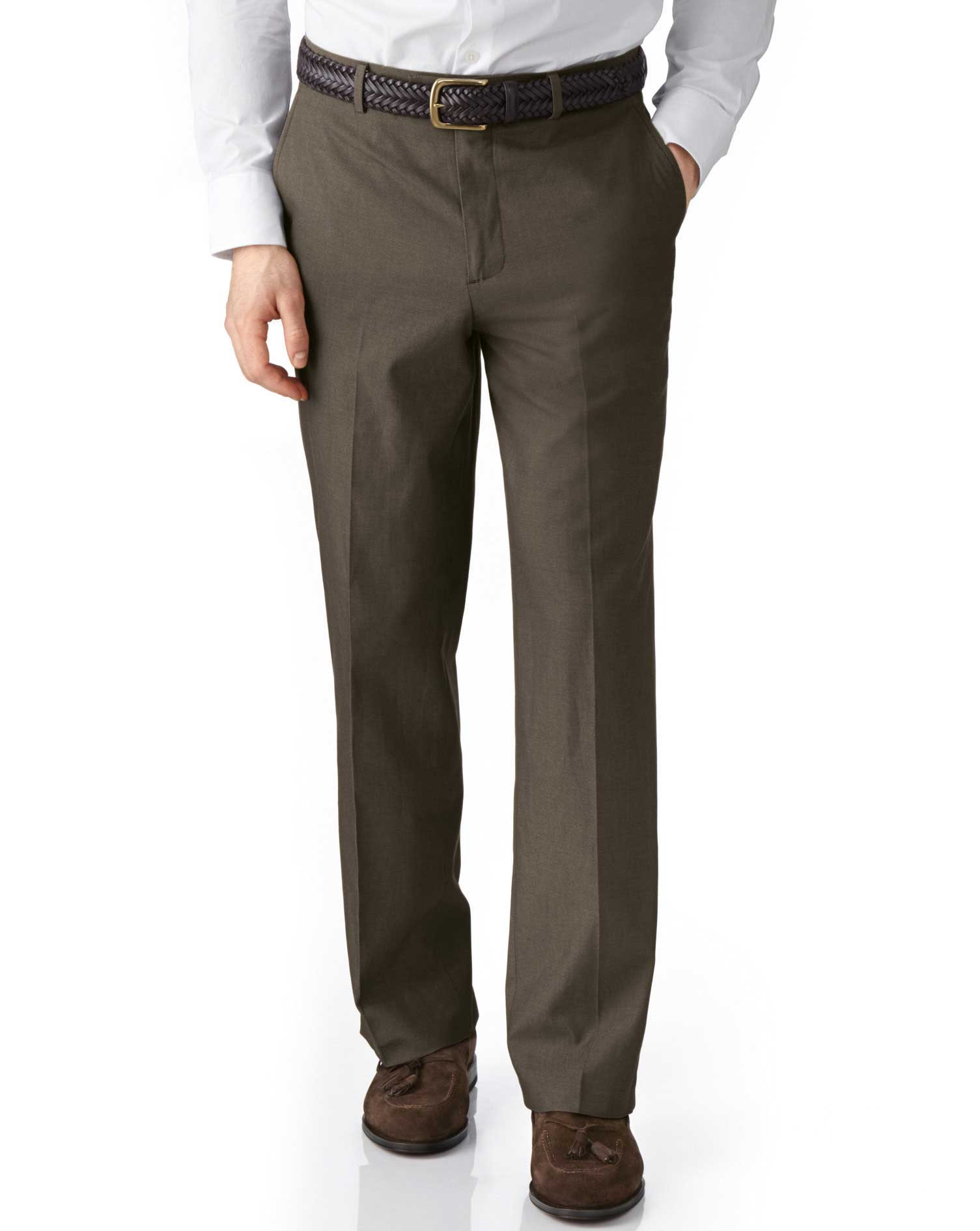Brown Classic Fit Stretch Cavalry Twill Cotton Chino Trousers Size W32 L30 by Charles Tyrwhitt