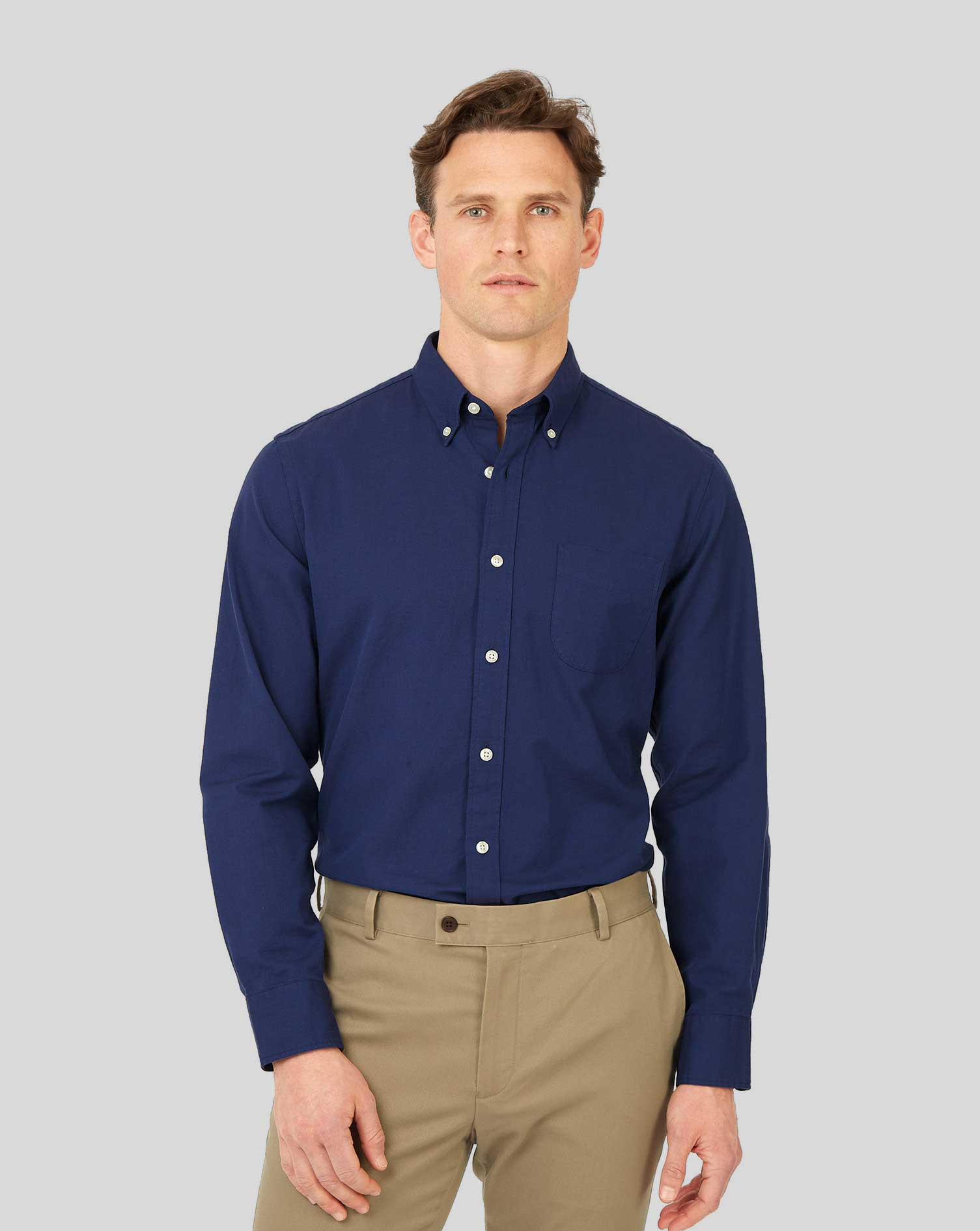 Cotton Slim Fit Button-Down Washed Oxford Royal Blue Shirt