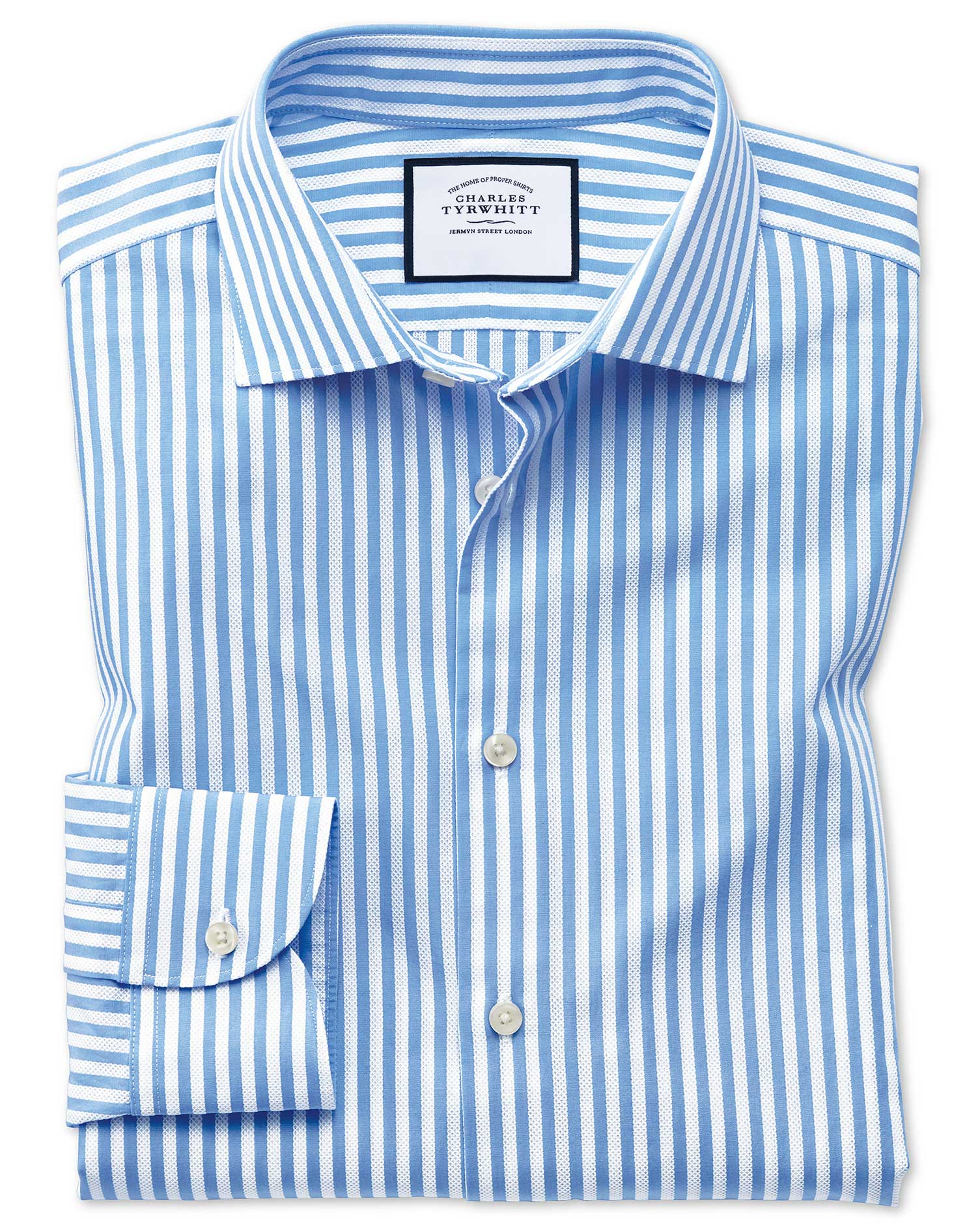 Slim Fit Business Casual Leno Texture Stripe Sky Blue and White Cotton Formal Shirt Single Cuff Size