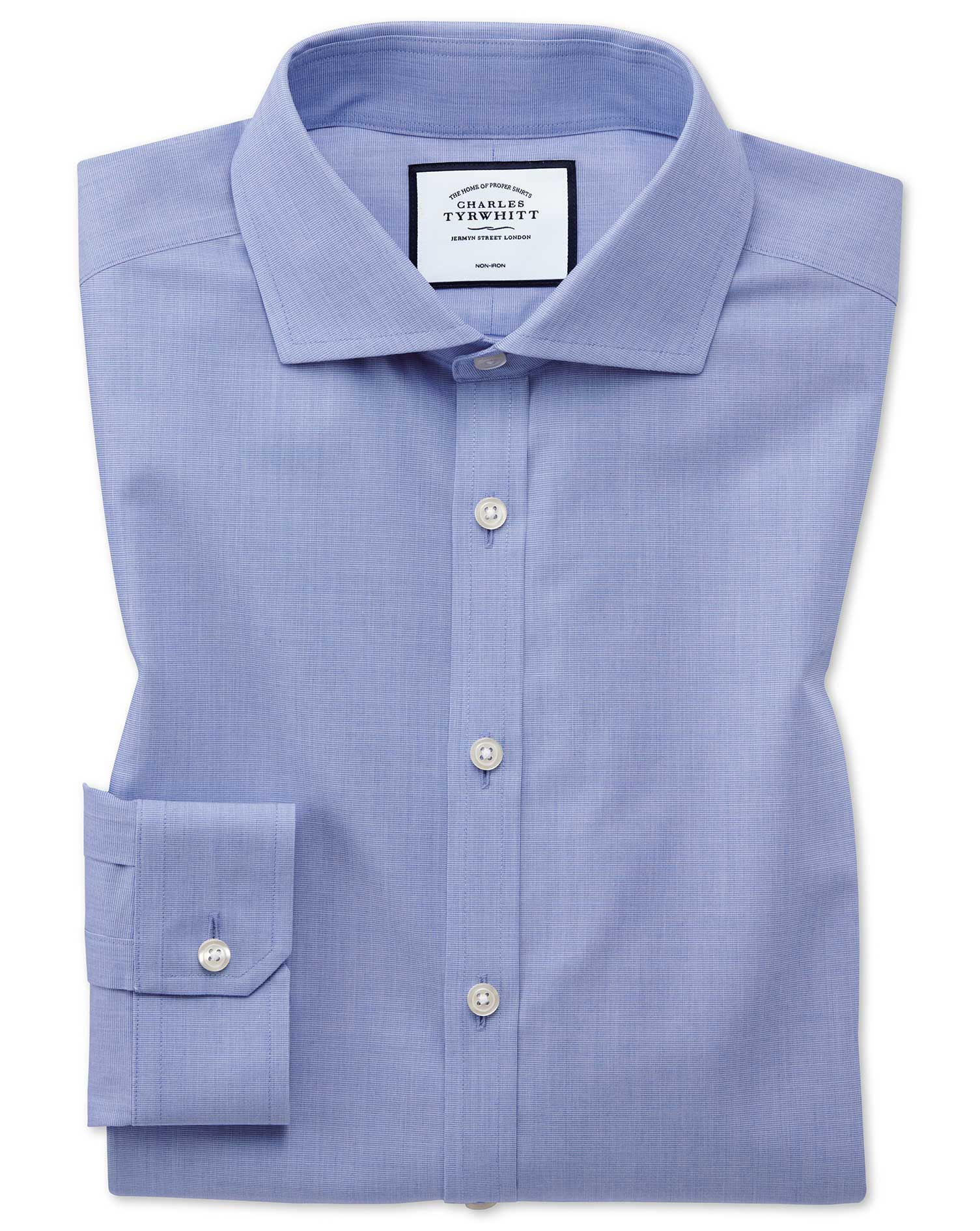 Super Slim Fit Non-Iron 4-Way Stretch Blue Cotton Formal Shirt Single Cuff Size 16/36 by Charles Tyr