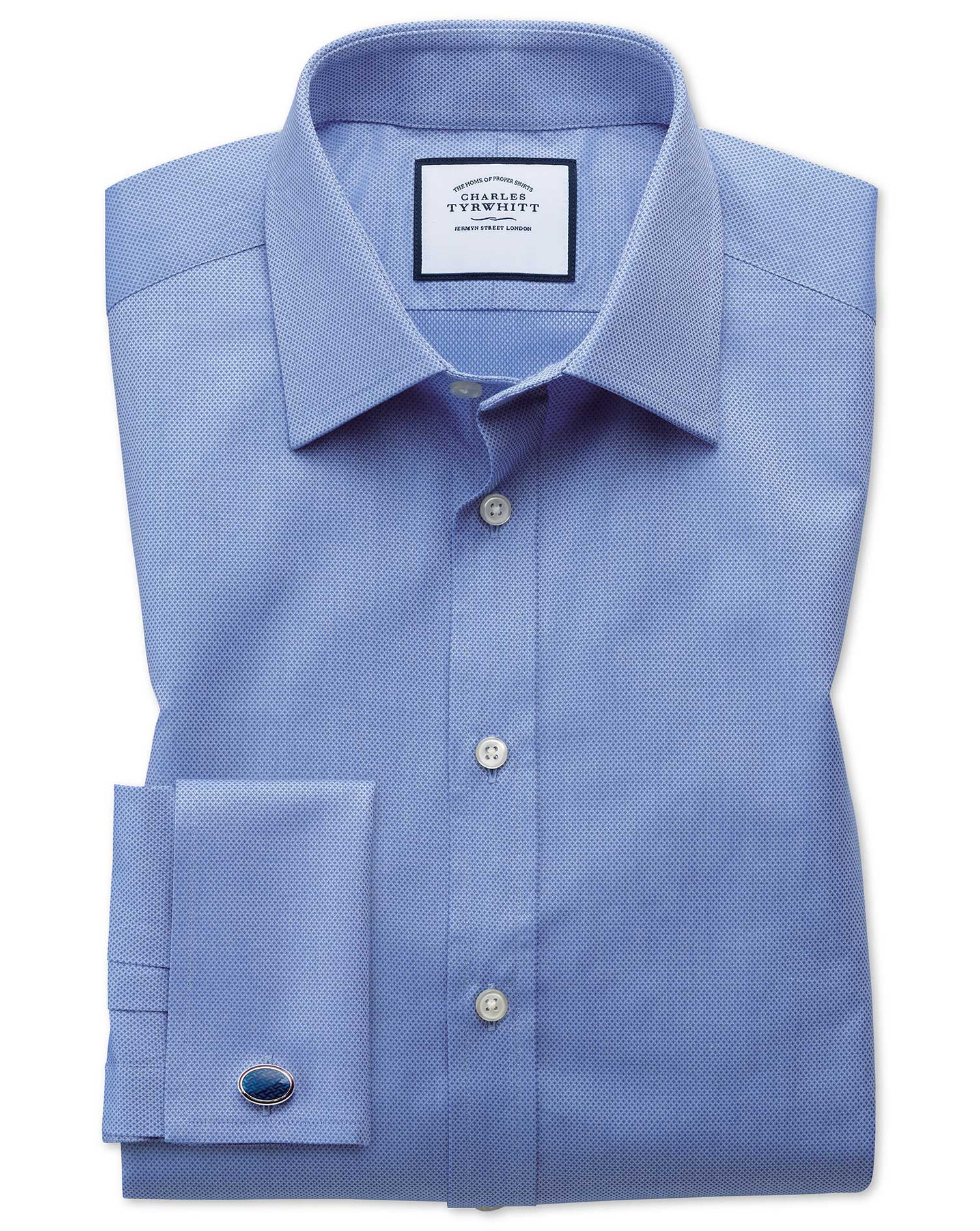 Classic Fit Egyptian Cotton Trellis Weave Mid Blue Formal Shirt Double Cuff Size 17/36 by Charles Ty
