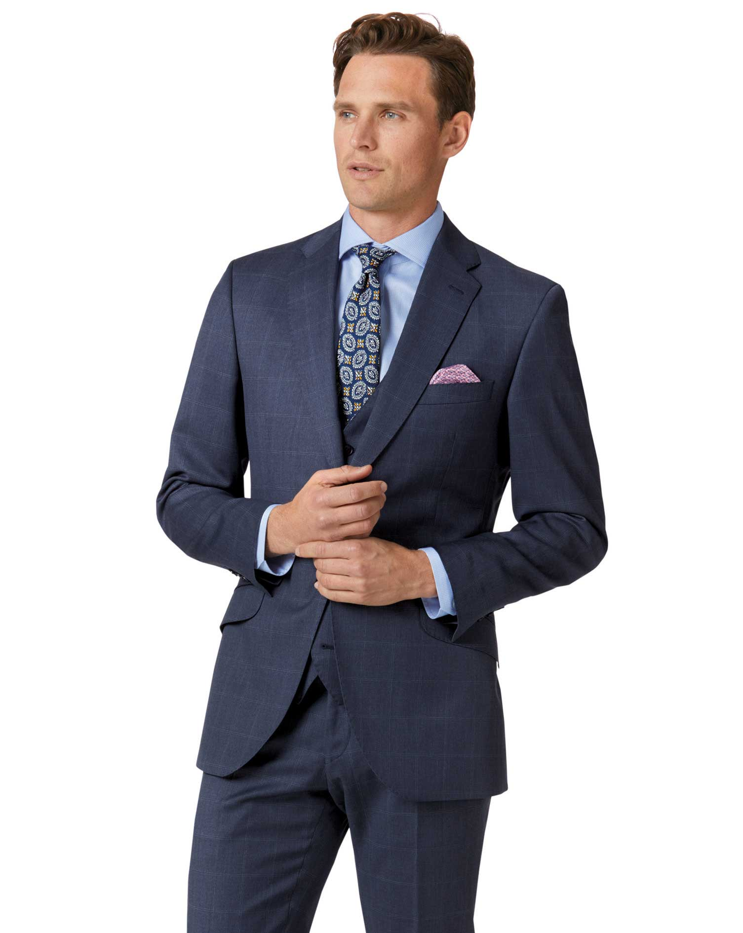 Image of Charles Tyrwhitt Airforce Blue Slim Fit Italian Suit Wool Jacket Size 38 Short by Charles Tyrwhitt