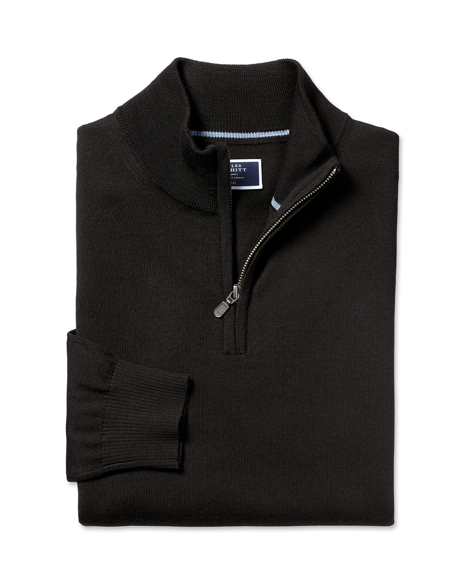 Black Merino Wool Zip Neck Jumper Size Large by Charles Tyrwhitt