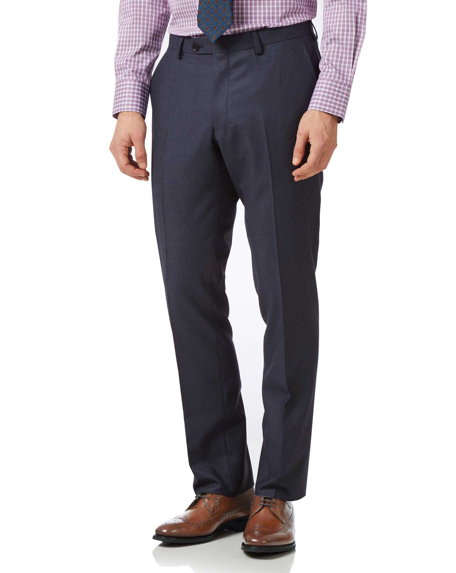 Image of Charles Tyrwhitt Airforce Blue Slim Fit Flannel Business Suit Trousers Size W102 L97 by Charles Tyrwhitt
