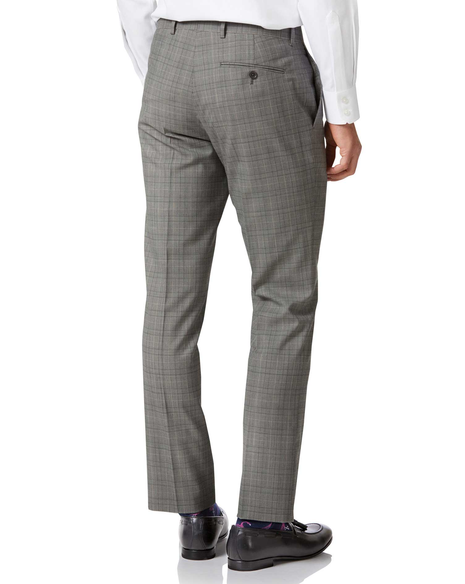 Grey Price of Wales slim fit Panama business suit pants